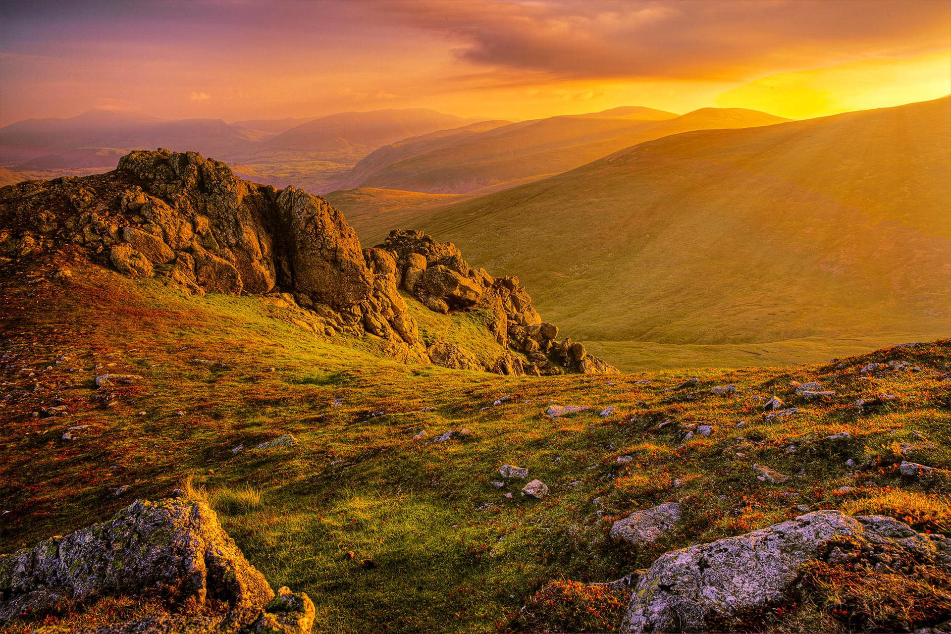 76760 download wallpaper Nature, Grass, Stones, Mountains, Dawn screensavers and pictures for free