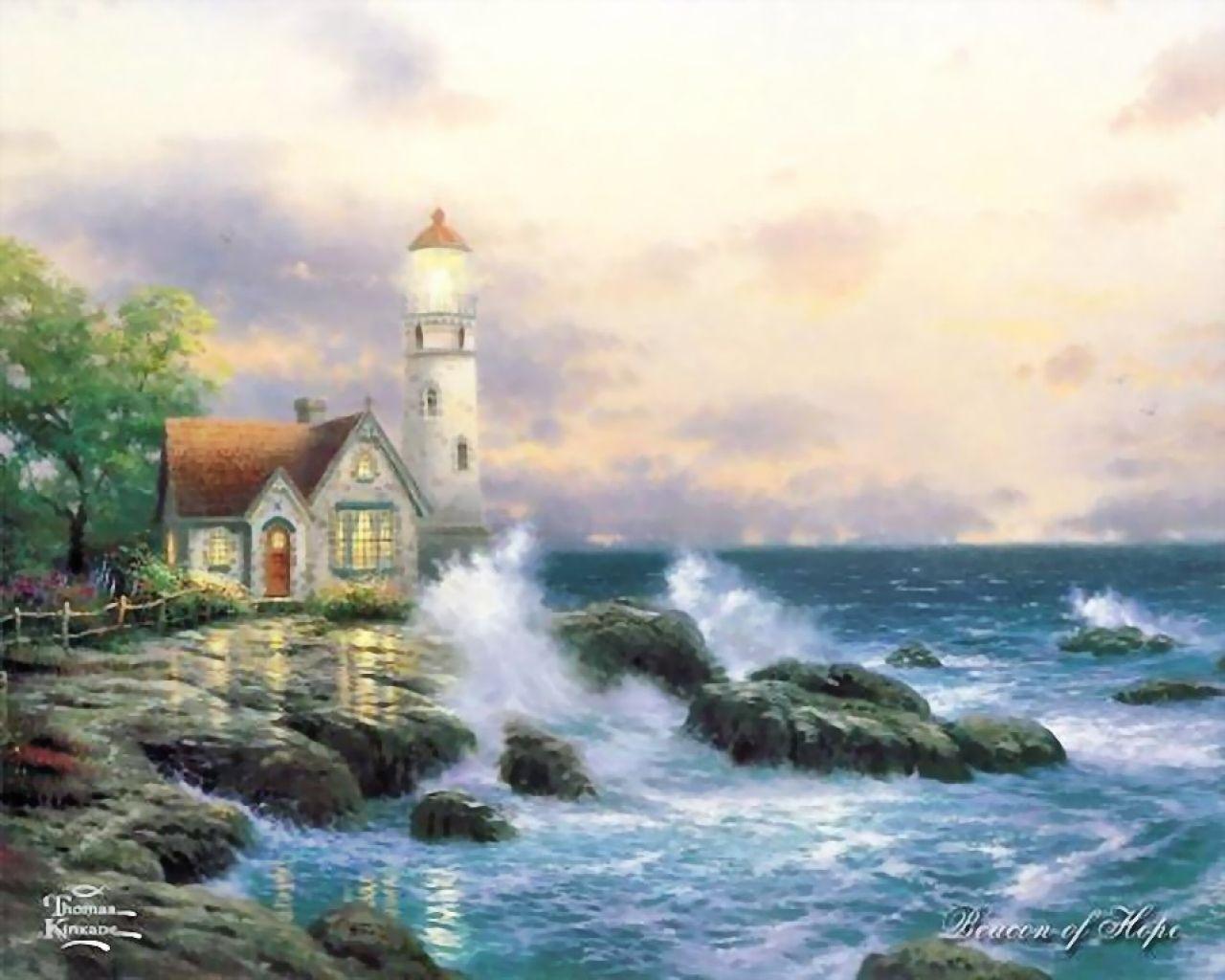 2840 скачать обои Пейзаж, Дома, Камни, Море, Рисунки - заставки и картинки бесплатно