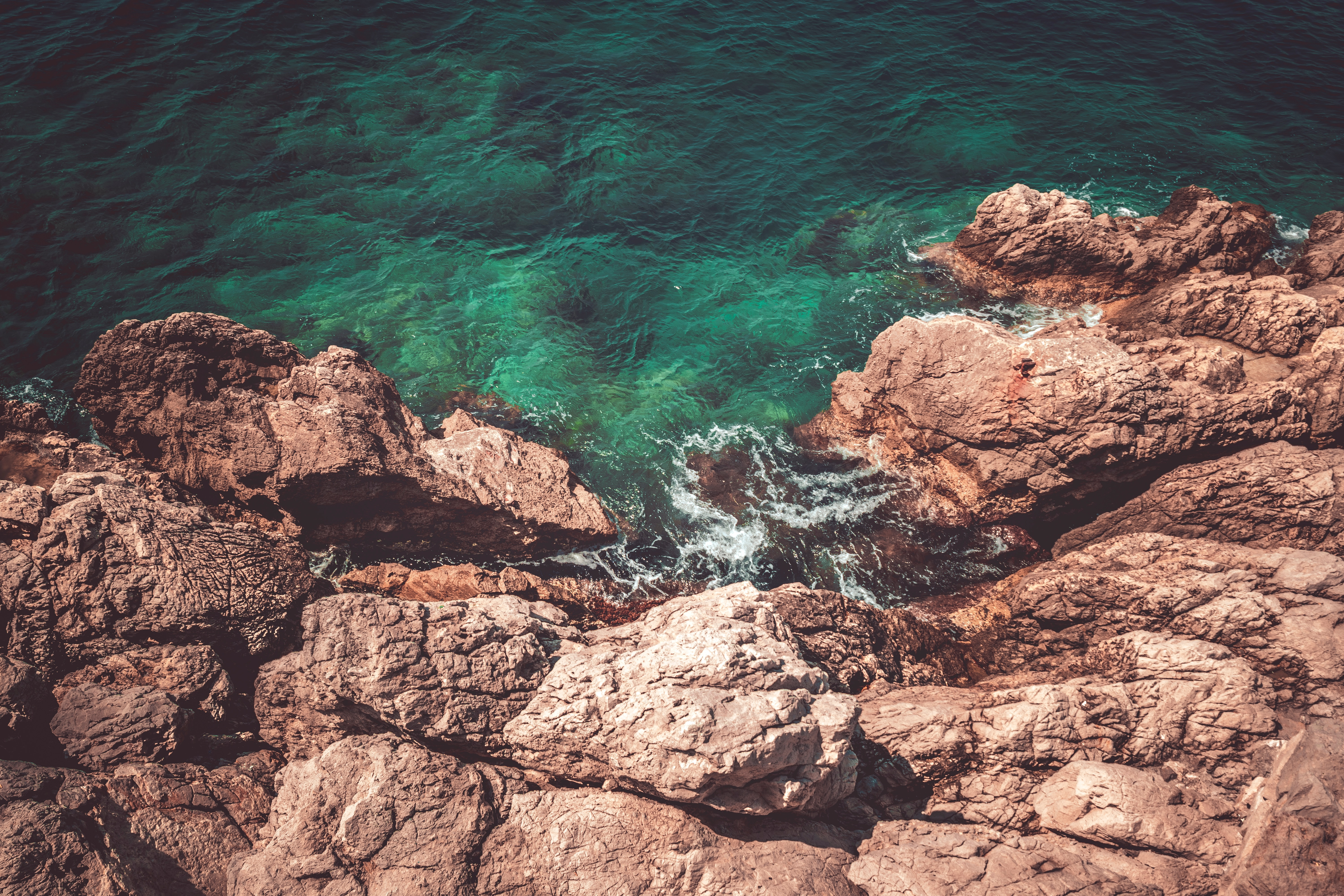 148892 download wallpaper View From Above, Nature, Water, Sea, Rocks, Coast screensavers and pictures for free