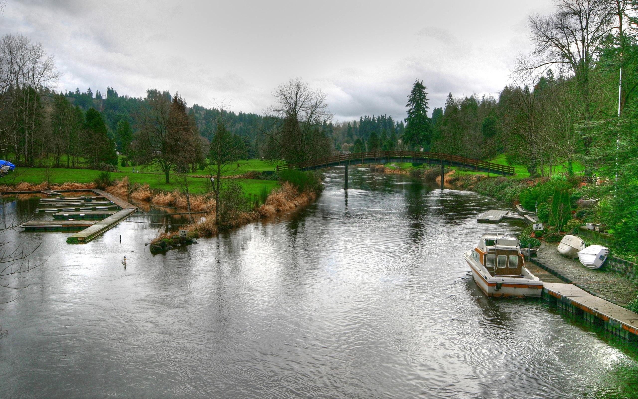 24096 скачать обои Пейзаж, Река, Мосты, Лодки - заставки и картинки бесплатно