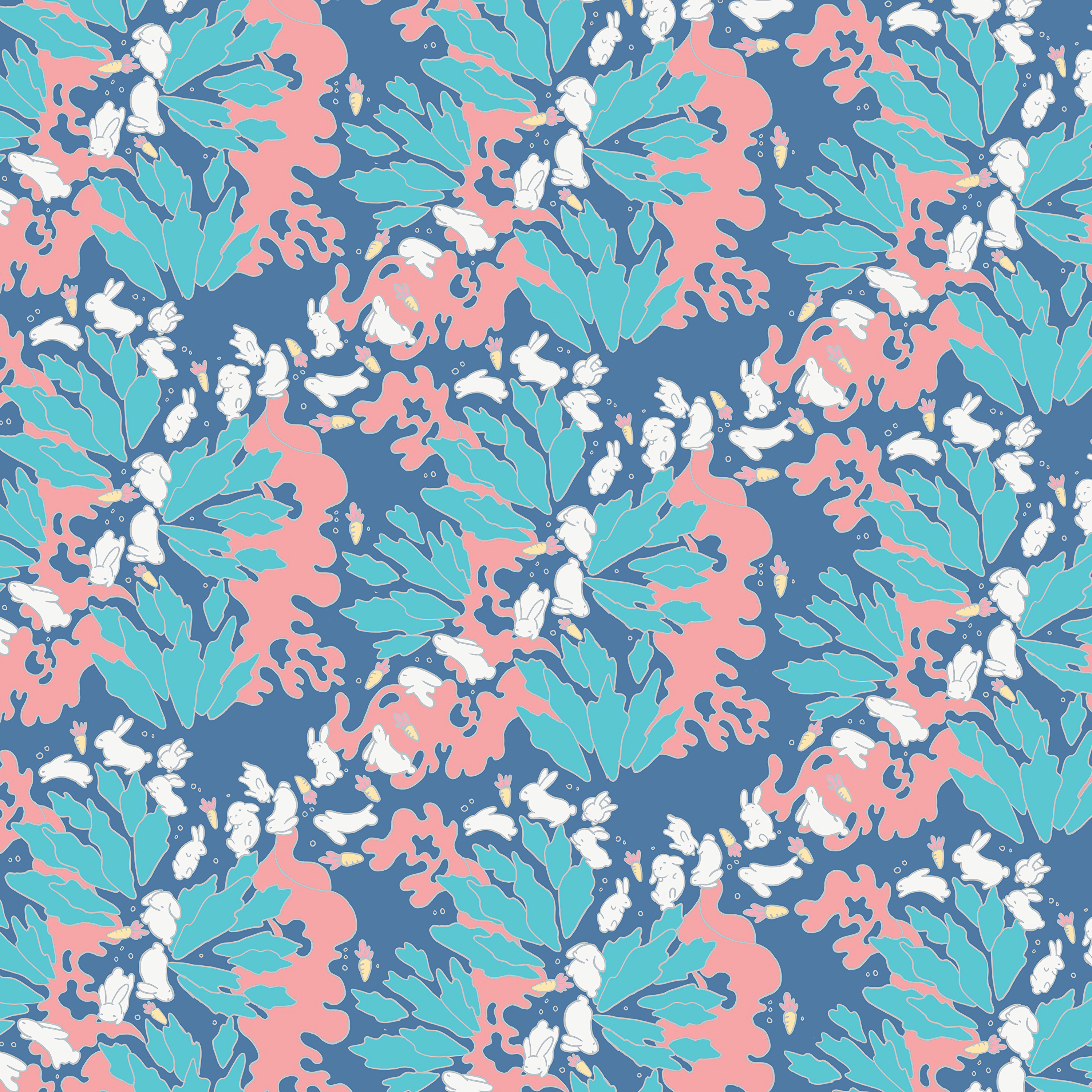 141522 download wallpaper Leaves, Rabbits, Pattern, Texture, Textures, Carrot screensavers and pictures for free