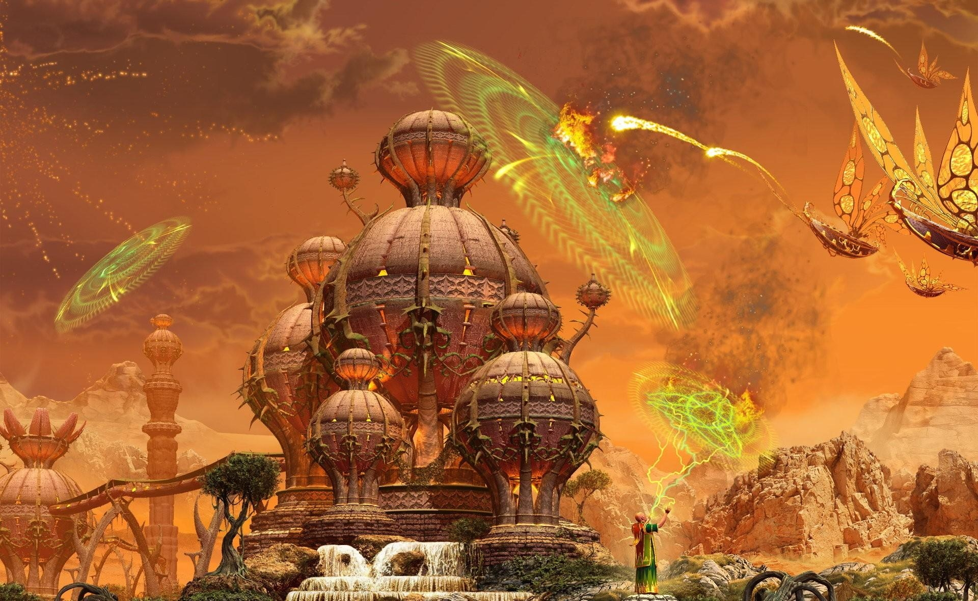 134743 download wallpaper Fantasy, Lock, Ships, Flight, Attack, Magic, Protection screensavers and pictures for free