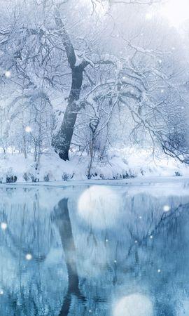 36743 скачать обои Пейзаж, Зима, Река, Деревья - заставки и картинки бесплатно
