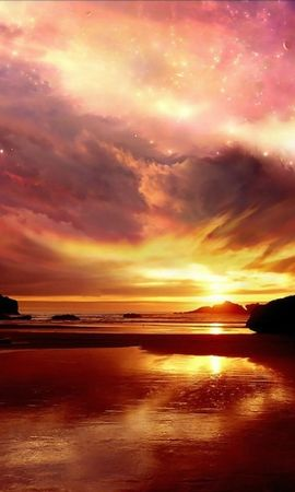 13604 скачать обои Пейзаж, Закат, Небо, Море, Солнце, Облака - заставки и картинки бесплатно
