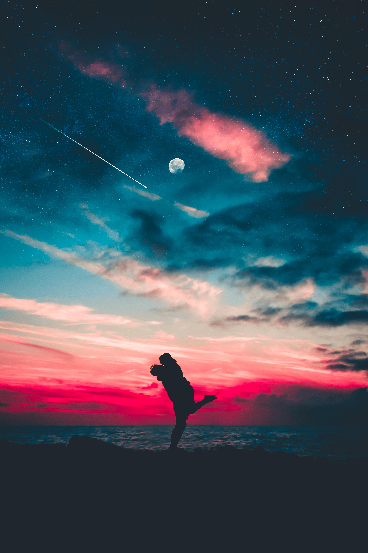 130630 Заставки и Обои Любовь на телефон. Скачать Силуэты, Объятия, Звездное Небо, Любовь картинки бесплатно