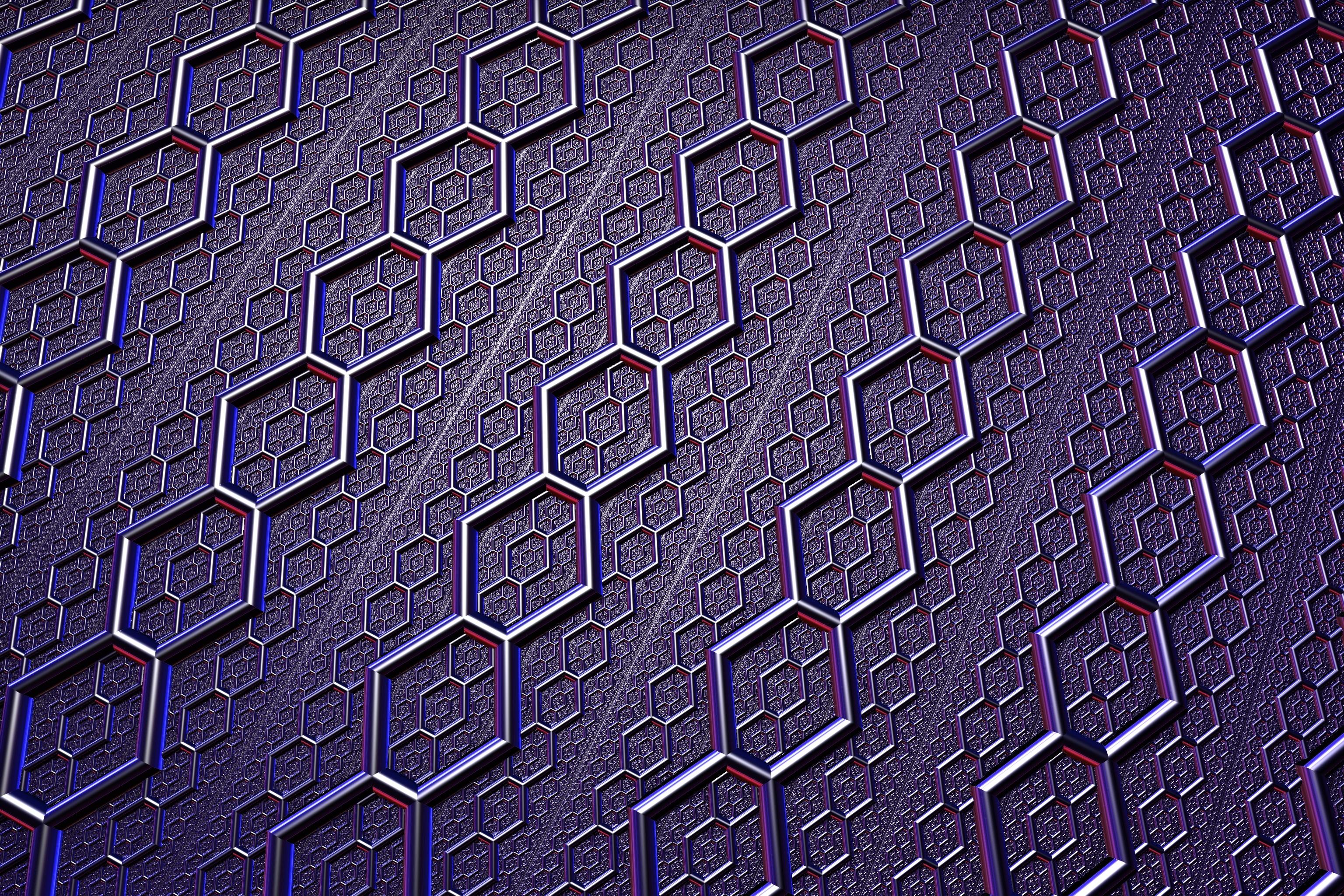 64942 Protetores de tela e papéis de parede Metal em seu telefone. Baixe Brilho, Brilhar, Textura, Texturas, Superfície, Metal, Metálico, Hexágonos, Hexagonais fotos gratuitamente