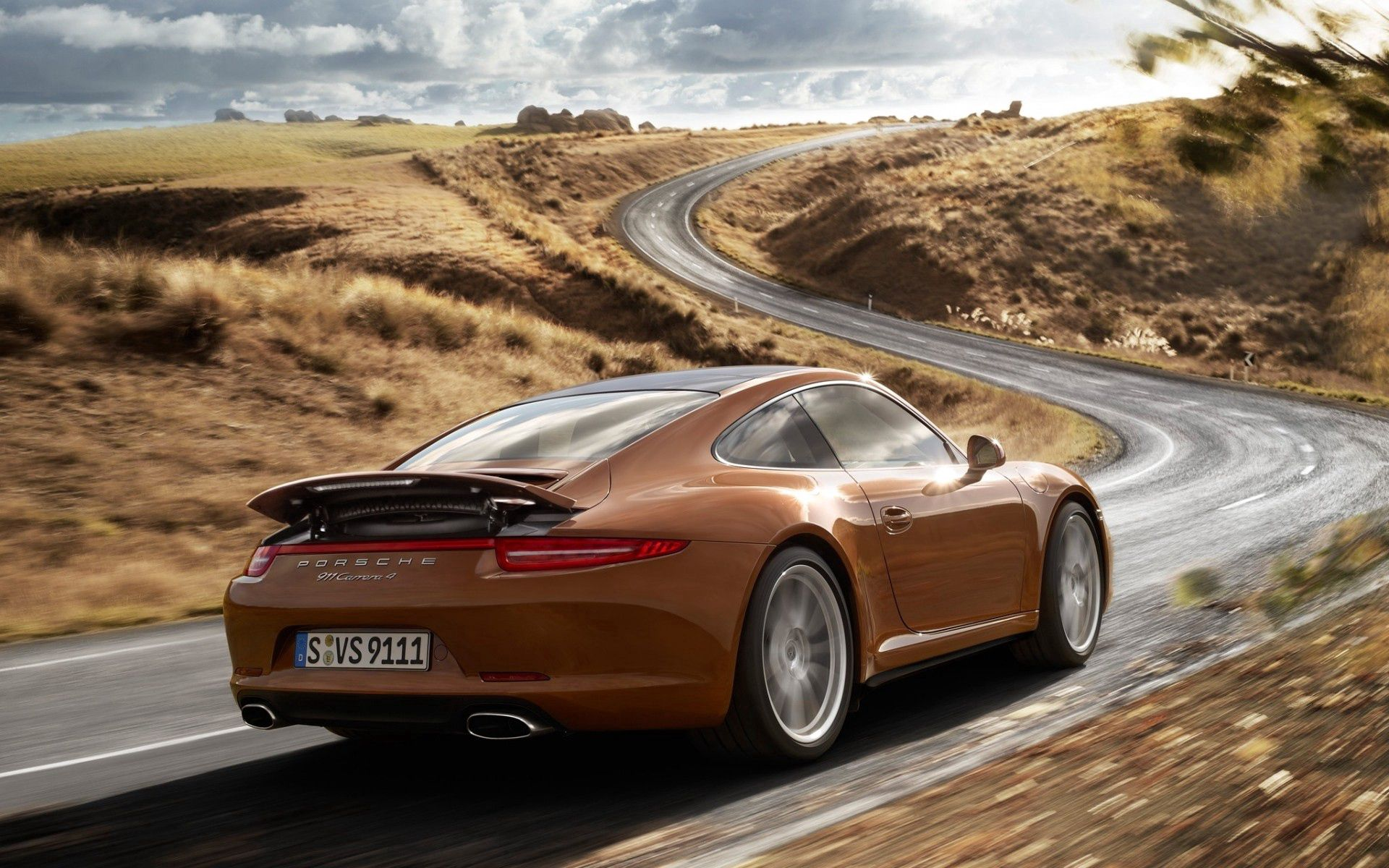 133770 Screensavers and Wallpapers Porsche for phone. Download Porsche, Cars, Road, Car, Machine, Back View, Rear View, 911, Coupe, Carrera 4 pictures for free