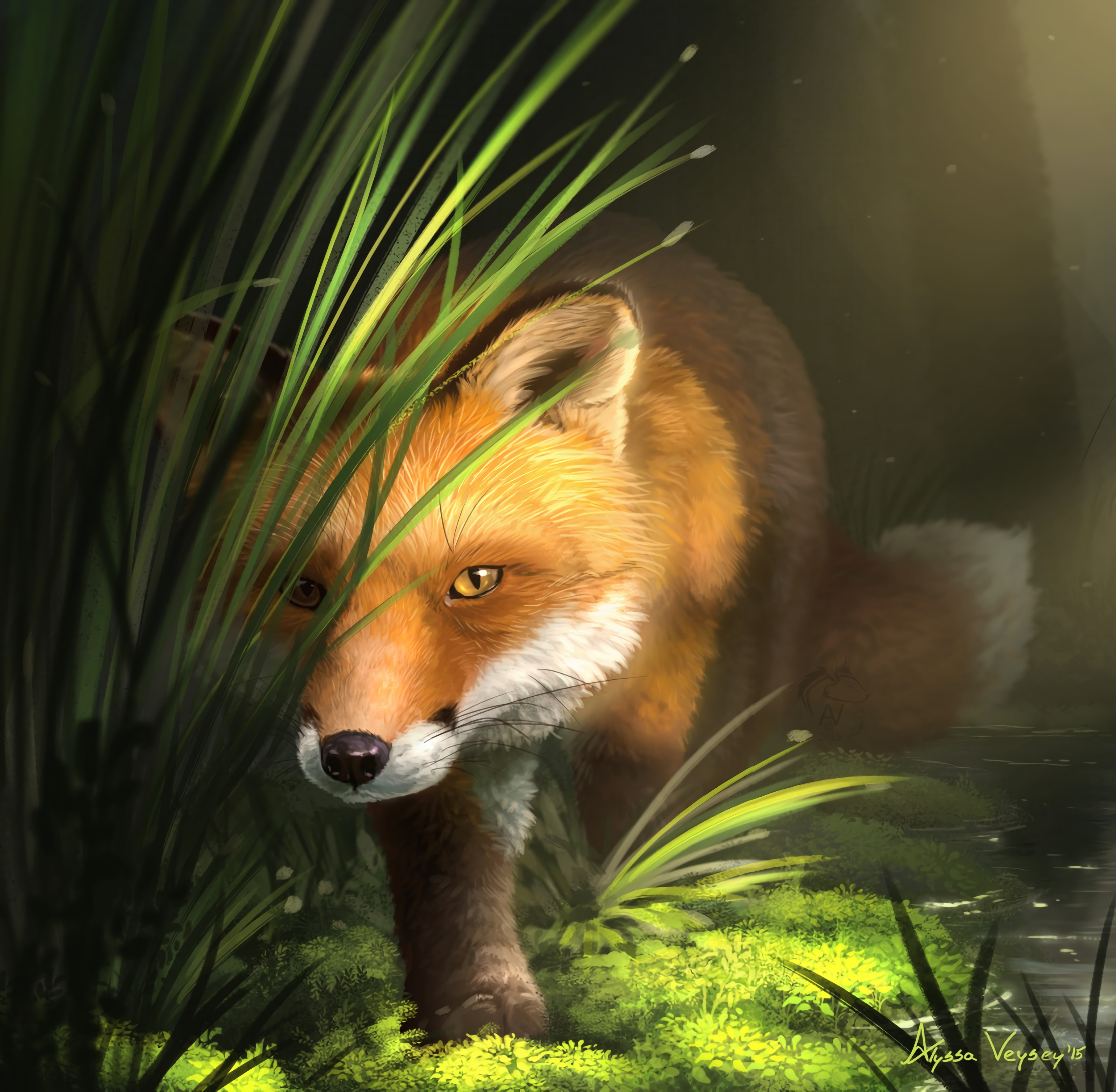 120589 Screensavers and Wallpapers Fox for phone. Download Grass, Art, Fox, Wildlife, Animal pictures for free