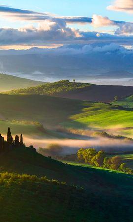 64274 Заставки и Обои Поля на телефон. Скачать Природа, Италия, Тоскана, Поля, Деревья, Вид Сверху, Туман картинки бесплатно