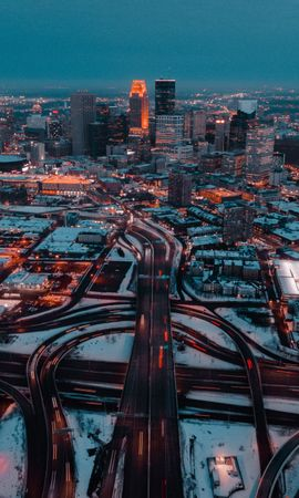 98616 Screensavers and Wallpapers Roads for phone. Download City, View From Above, Building, Roads, Snow, Dusk, Twilight, Cities pictures for free