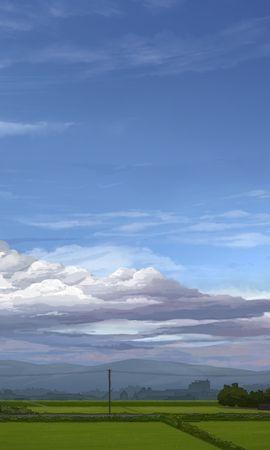 26425 скачать обои Пейзаж, Поля, Облака, Рисунки - заставки и картинки бесплатно