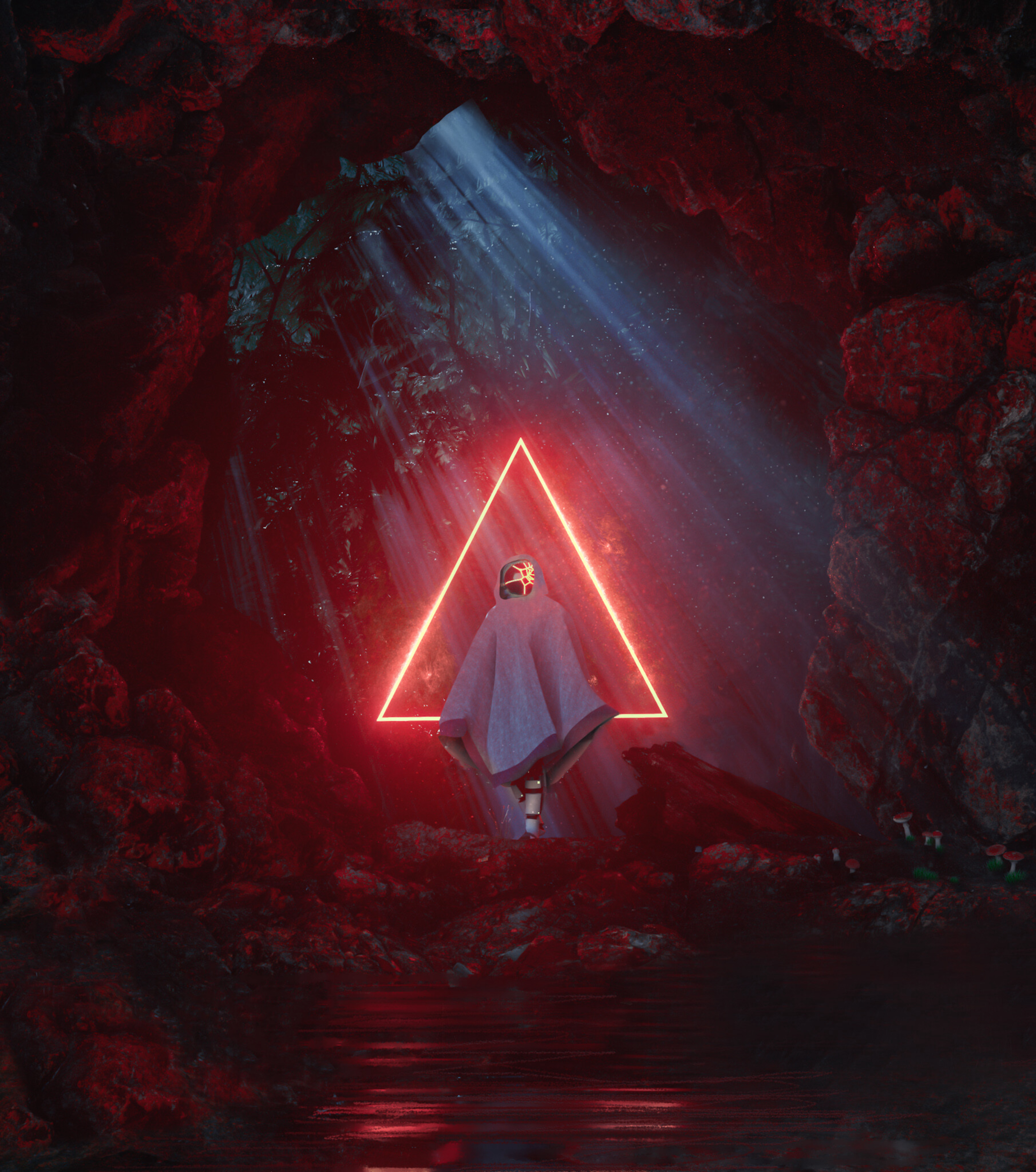 77018 download wallpaper Shine, Light, Miscellanea, Miscellaneous, Glow, Cave, Triangle, Ghost screensavers and pictures for free