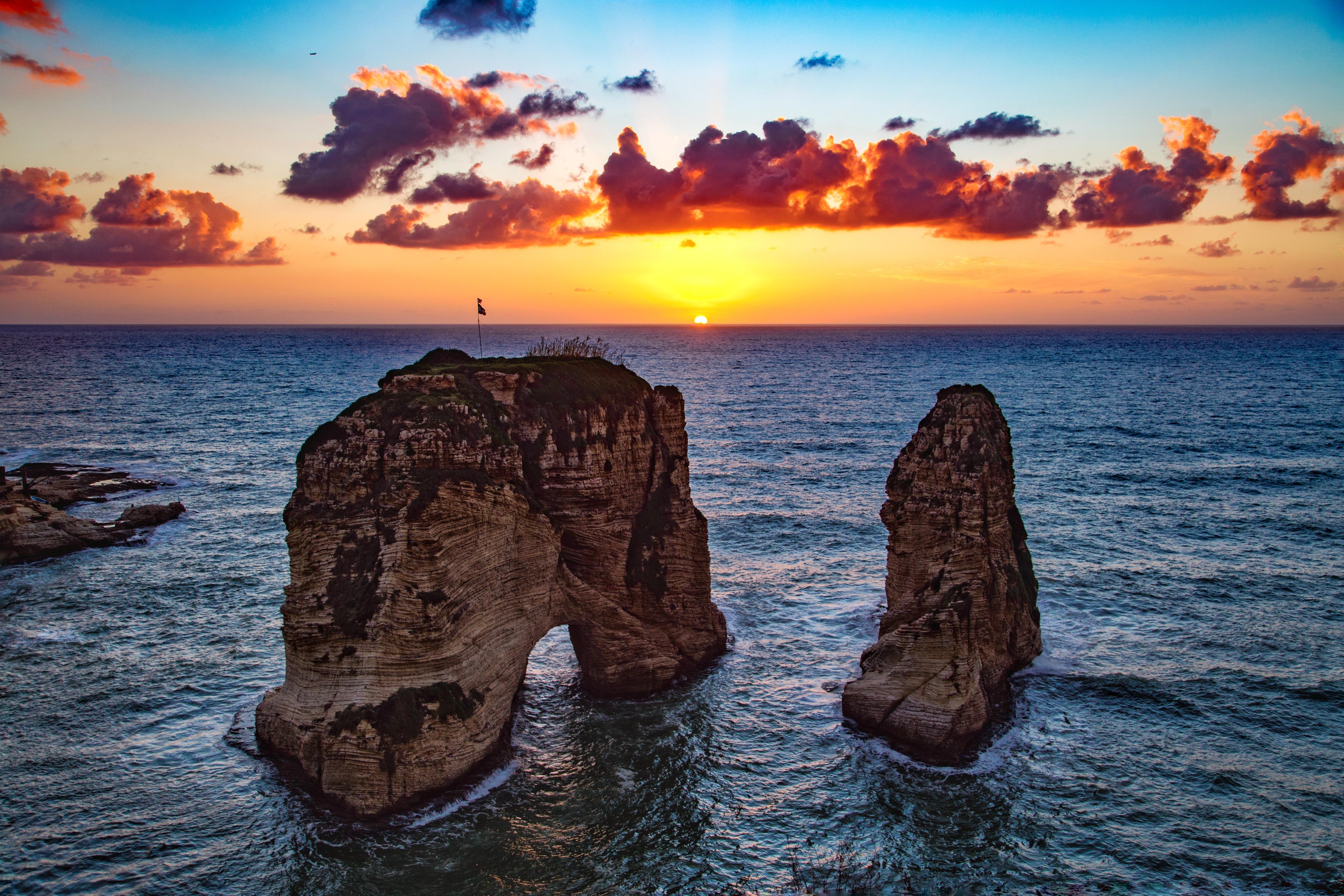51241 Salvapantallas y fondos de pantalla Mar en tu teléfono. Descarga imágenes de Naturaleza, Rocas Rausche, Rocas, Beirut, Líbano, Mar, Puesta Del Sol gratis