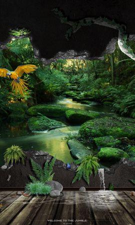 25441 скачать обои Пейзаж, Река, Деревья, Попугаи - заставки и картинки бесплатно