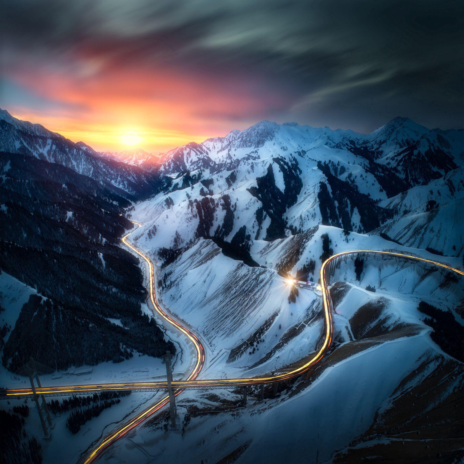 138386 Hintergrundbild herunterladen Landschaft, Natur, Sunset, Roads, Mountains, Blick Von Oben - Bildschirmschoner und Bilder kostenlos