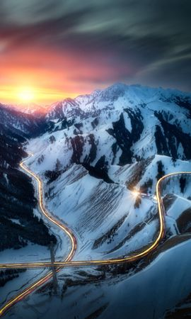 138386 Screensavers and Wallpapers Roads for phone. Download Nature, Roads, View From Above, Sunset, Mountains, Landscape pictures for free