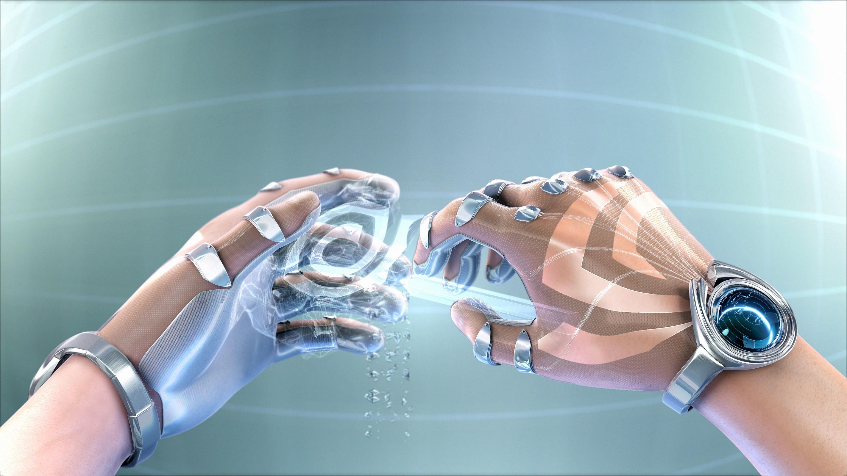 手機的135104屏保和壁紙3D。 免費下載 3D, 未来主义, 设计, 手, 手部, 赛博格, 机器人, 时钟 圖片