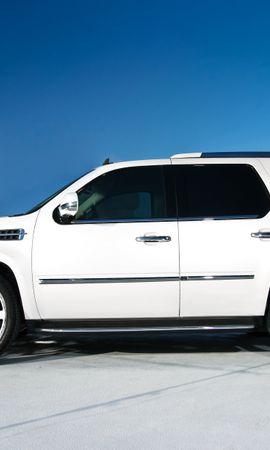 117355 скачать Белые обои на телефон бесплатно, Тачки (Cars), Кадиллак (Cadillac), Escalade, Wheels, Кадиллак, Эскалейд, Белый, Профиль, Диски, Крыша, Парковка Белые картинки и заставки на мобильный
