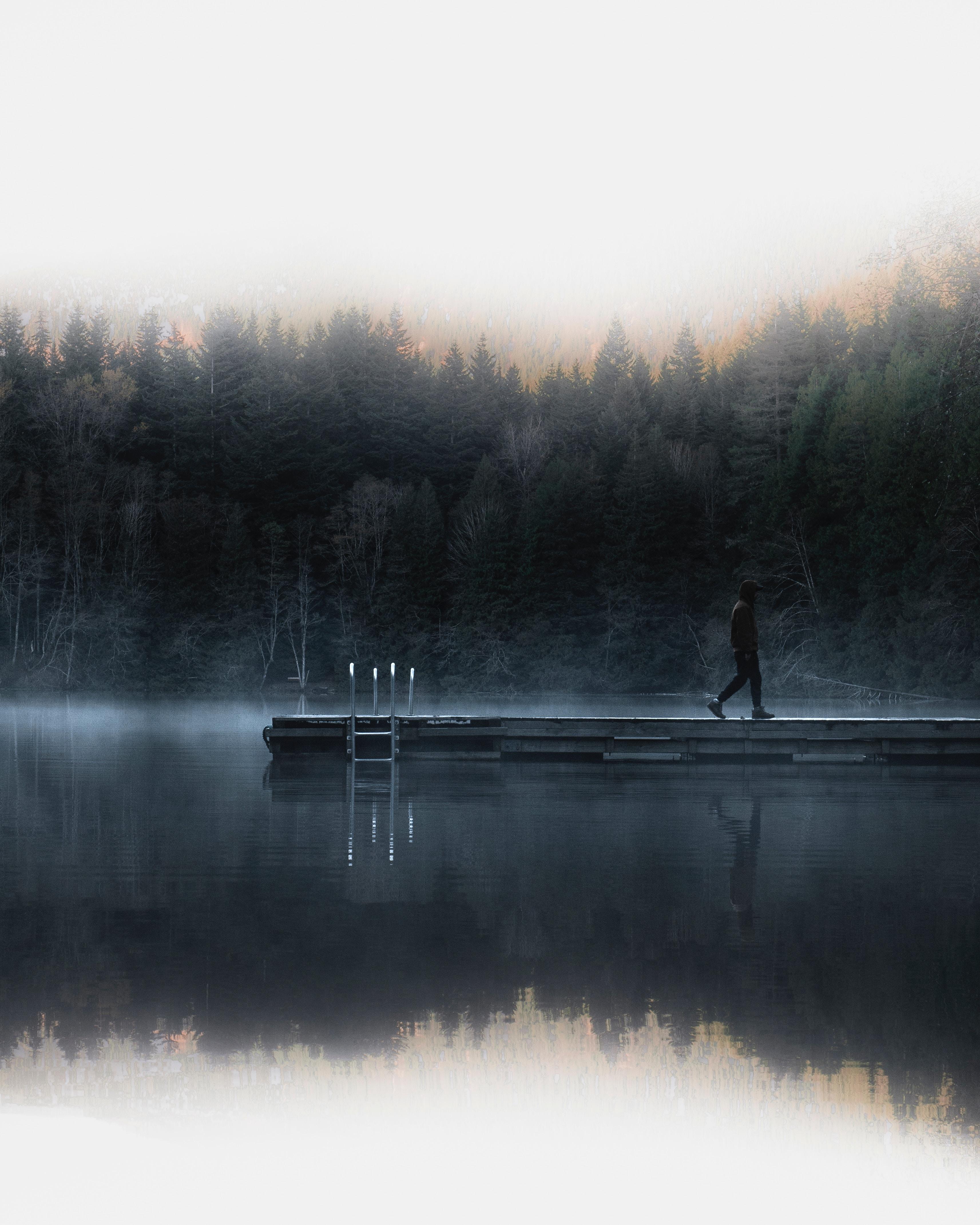 149183 Заставки и Обои Река на телефон. Скачать Река, Природа, Рассвет, Пирс, Туман, Одиночество картинки бесплатно