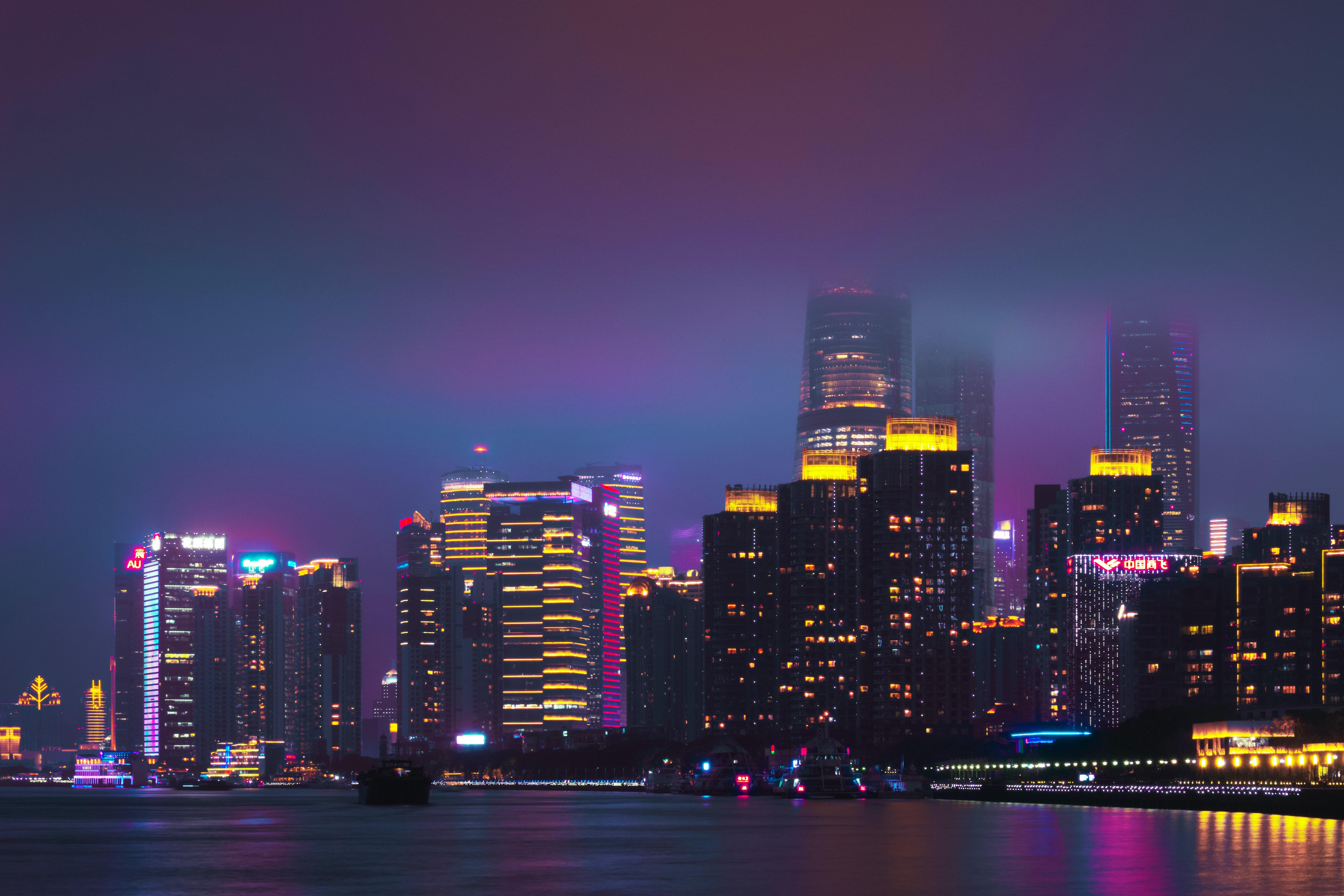 79542壁紙のダウンロード市, 都市, 夜の街, ナイトシティ, 建物, 水, 紫の, 紫-スクリーンセーバーと写真を無料で