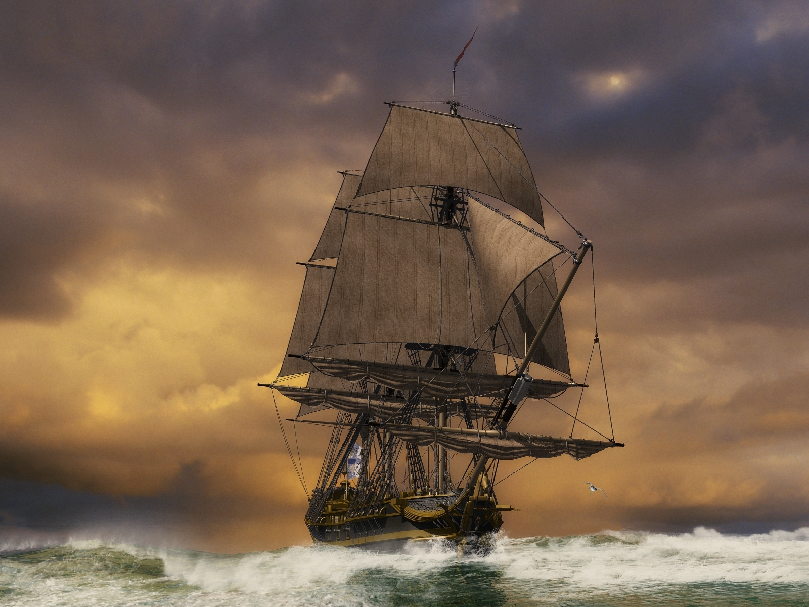 2839 download wallpaper Ships, Transport, Sky, Art, Sea screensavers and pictures for free