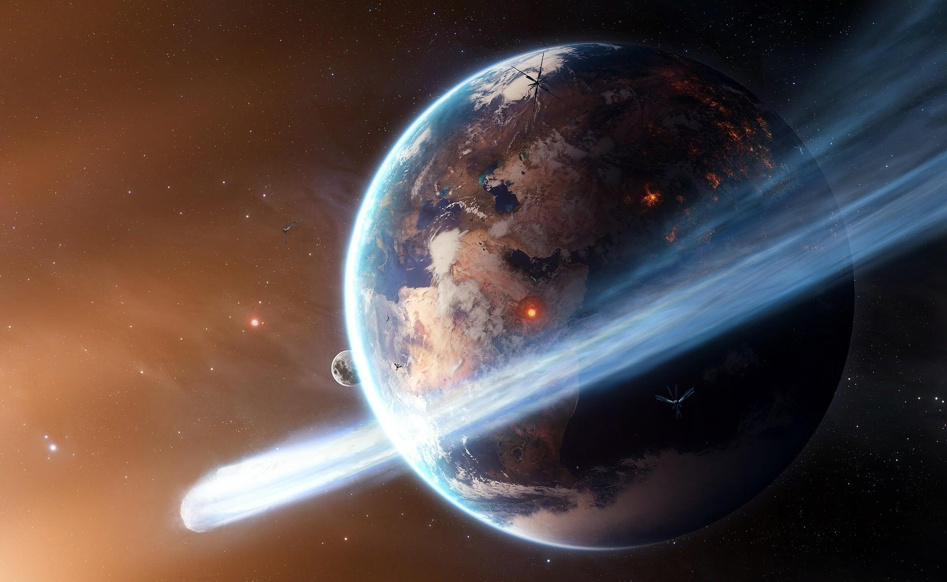 117655 download wallpaper Universe, Explosions, Ring, Planet, Satellites screensavers and pictures for free