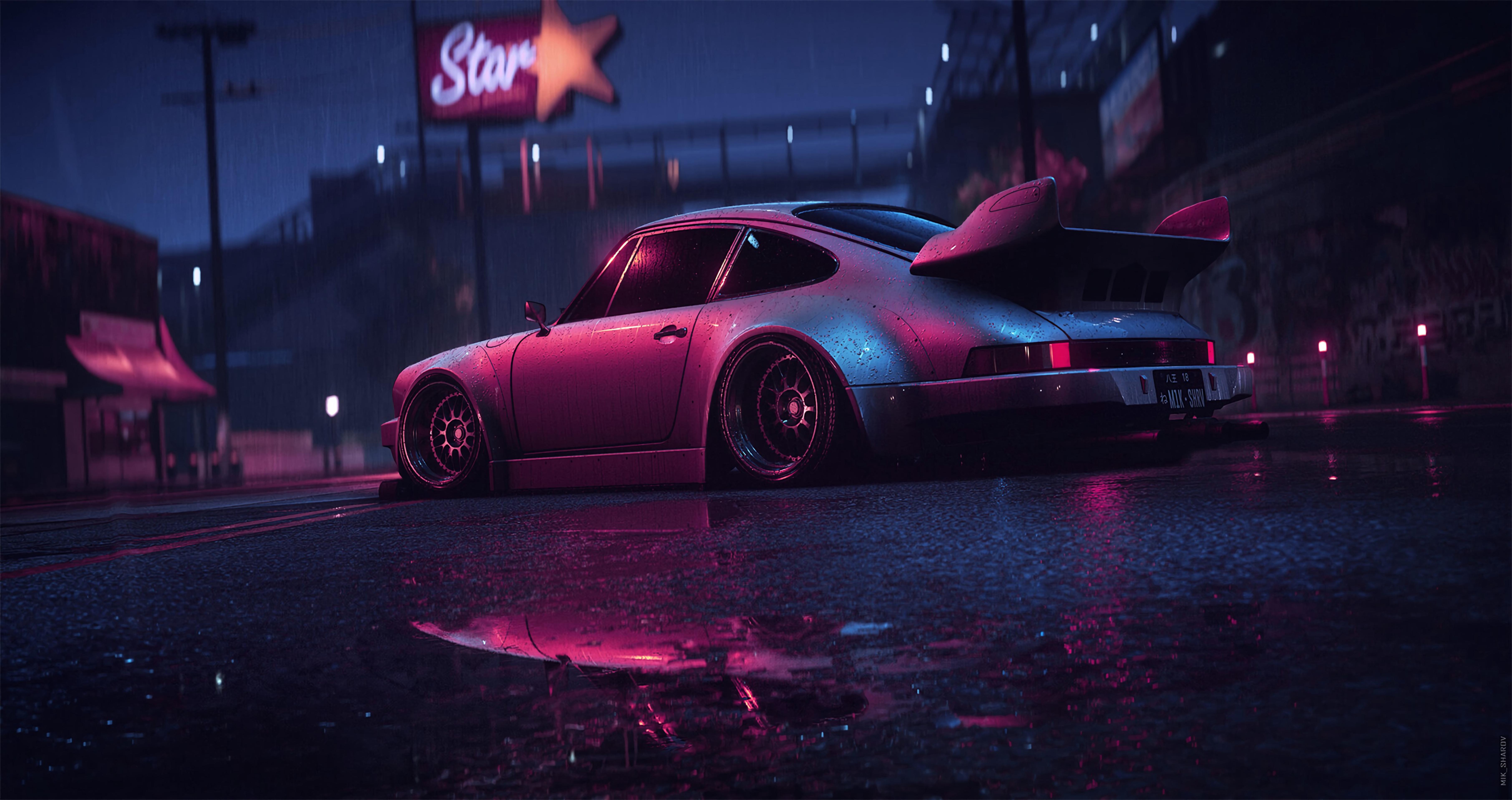 53726 Hintergrundbild herunterladen Porsche, Sport, Tuning, Übernachtung, Cars, Alt, Neon, Sportwagen, Porsche 911 Carrera Rsr - Bildschirmschoner und Bilder kostenlos