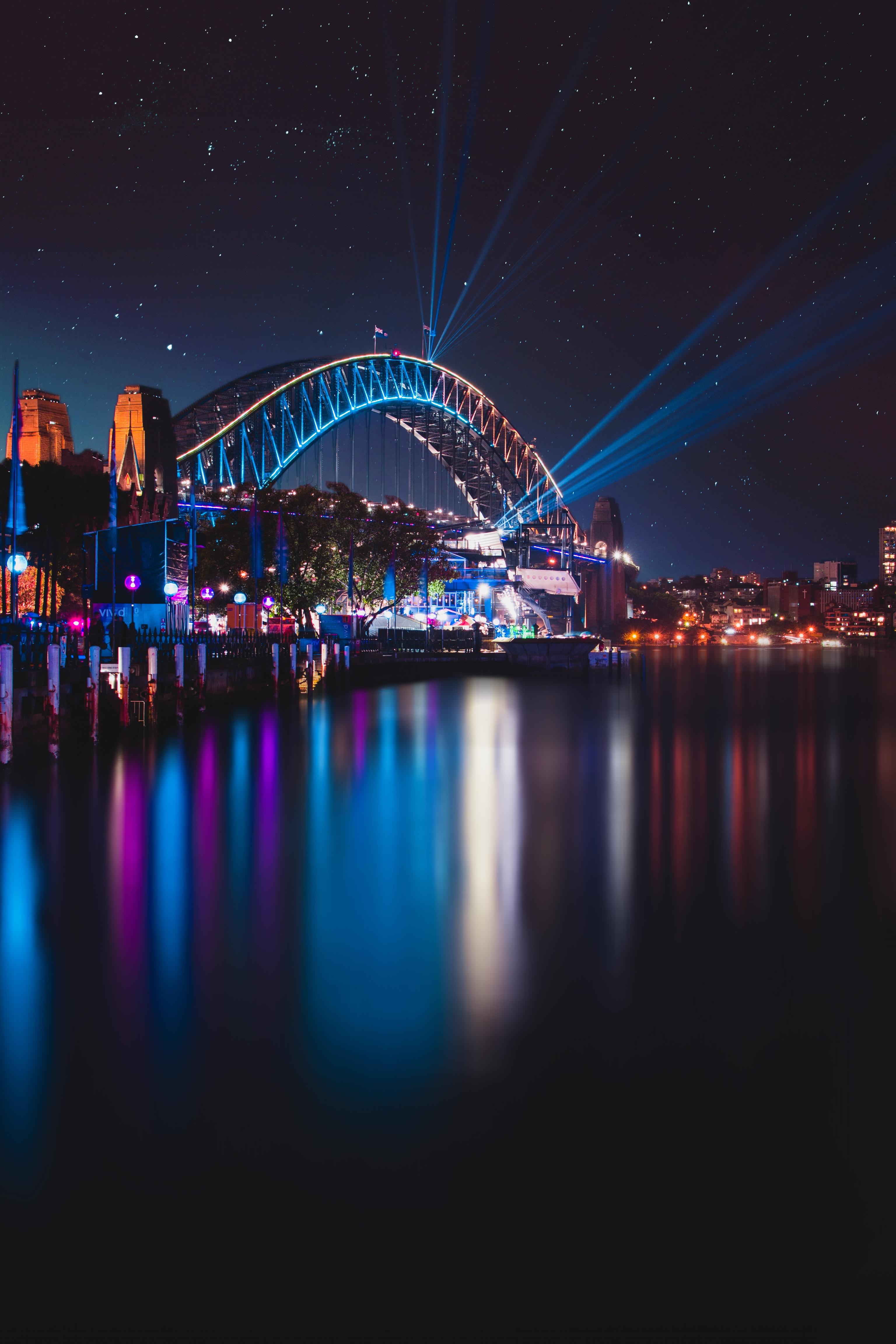143588 Screensavers and Wallpapers Night City for phone. Download Cities, Sydney, Night City, City Lights, Bridge, Australia, Harbor Bridge, Harbour Bridge pictures for free