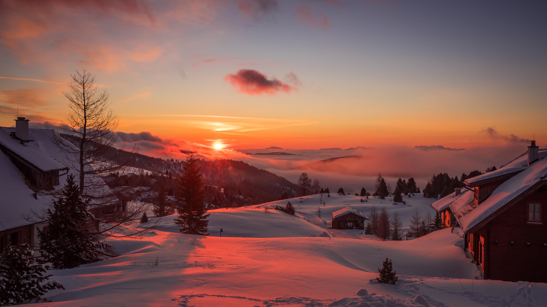 121192 Hintergrundbild herunterladen Natur, Mountains, Winterreifen, Bäume, Sunset, Österreich - Bildschirmschoner und Bilder kostenlos