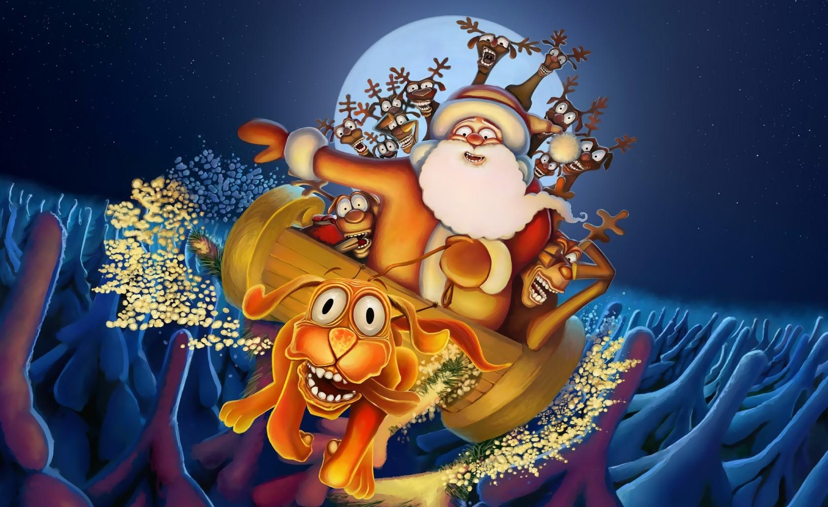 115502 download wallpaper Holidays, Dog, Deers, Santa Claus, Flight, Moon, Night, Christmas, Fir-Trees screensavers and pictures for free