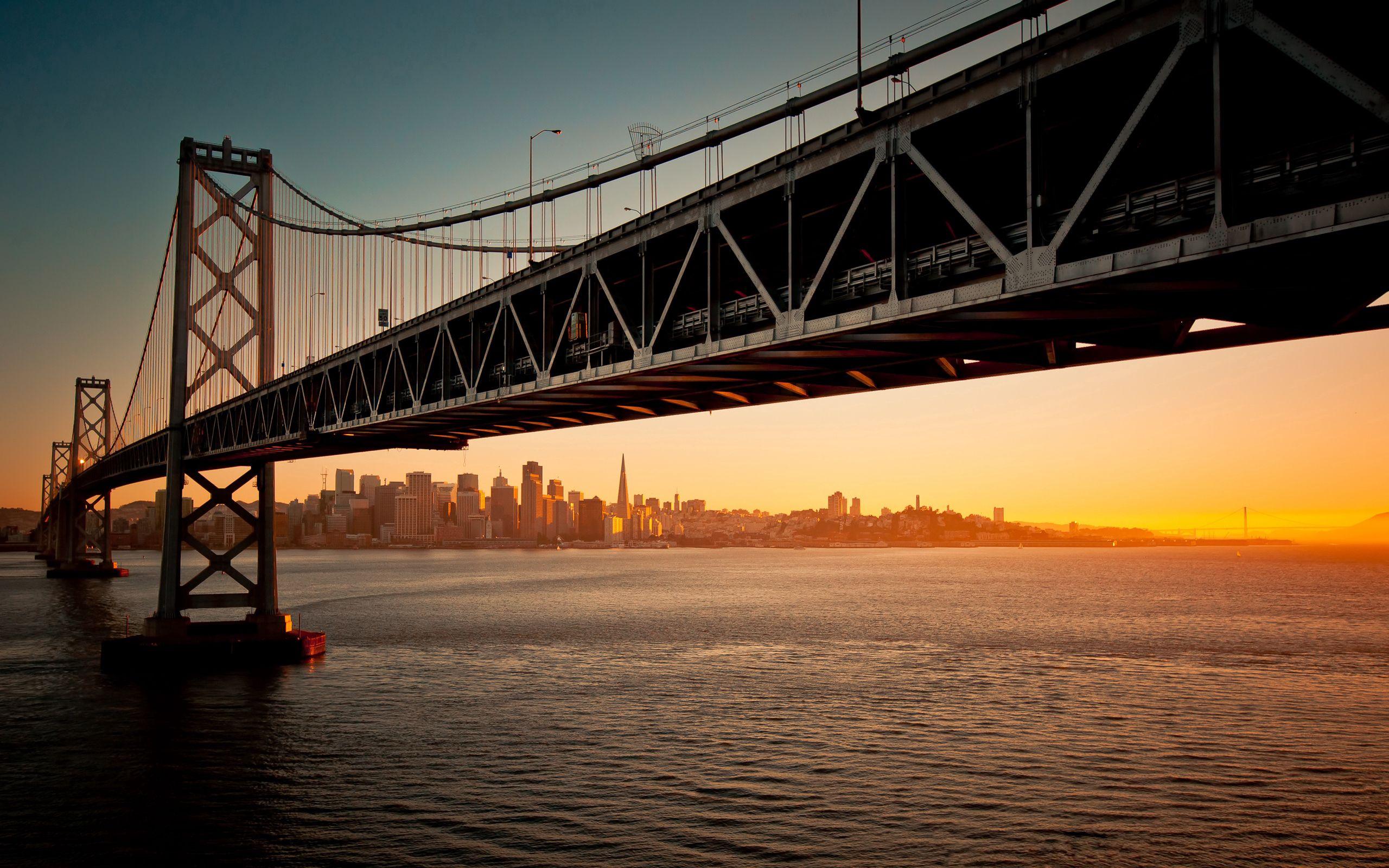 69717 Заставки и Обои Города на телефон. Скачать Мост, Закат, Вечер, Вода, Сан-Франциско, Калифорния, Города картинки бесплатно