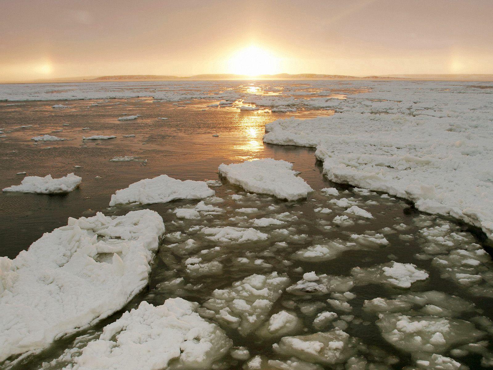 56092 скачать обои Природа, Лед, Река, Канада, Холод, Зима, Вечер, Закат, Солнце - заставки и картинки бесплатно