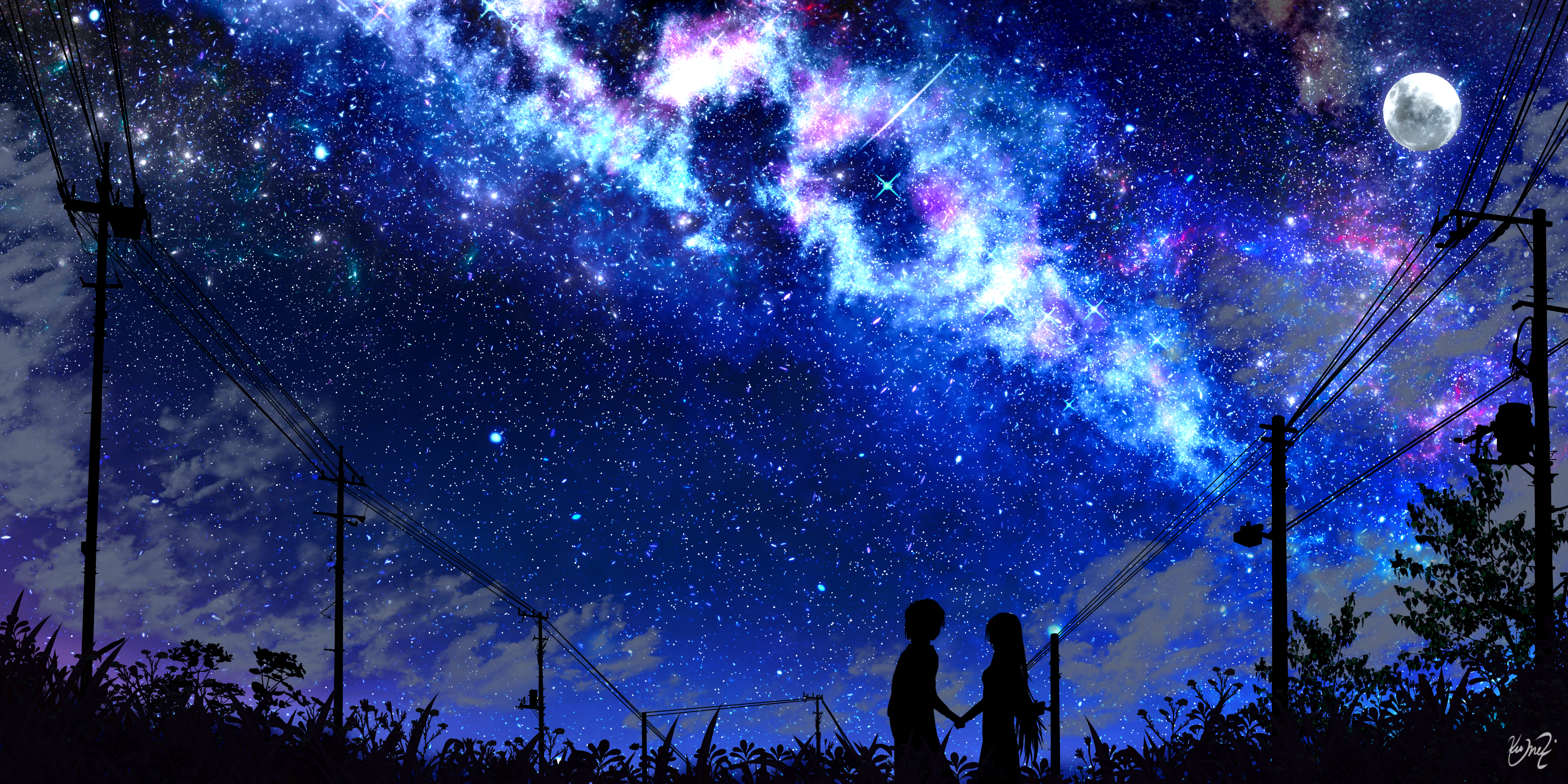 131516 download wallpaper Silhouette, Night, Starry Sky, Art, Dark screensavers and pictures for free