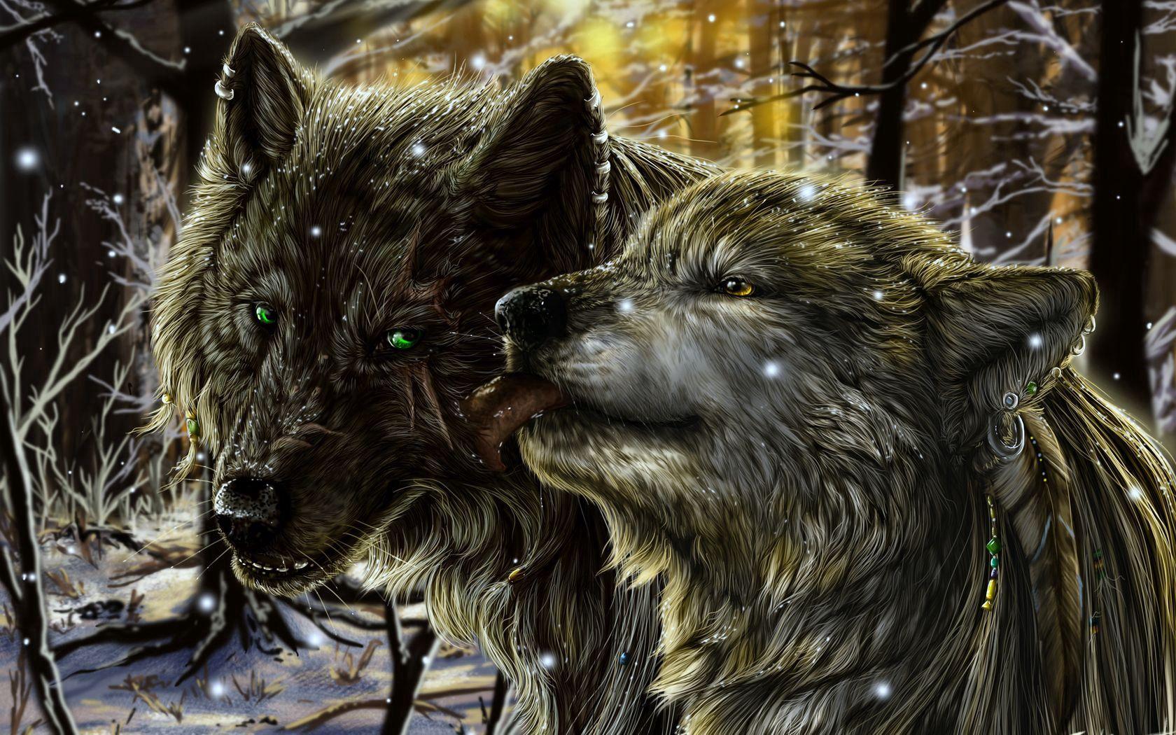 124347 Hintergrundbild herunterladen Wölfe, Fantasie, Schnee, Liebe, Paar, Zärtlichkeit, Sprache, Zunge - Bildschirmschoner und Bilder kostenlos