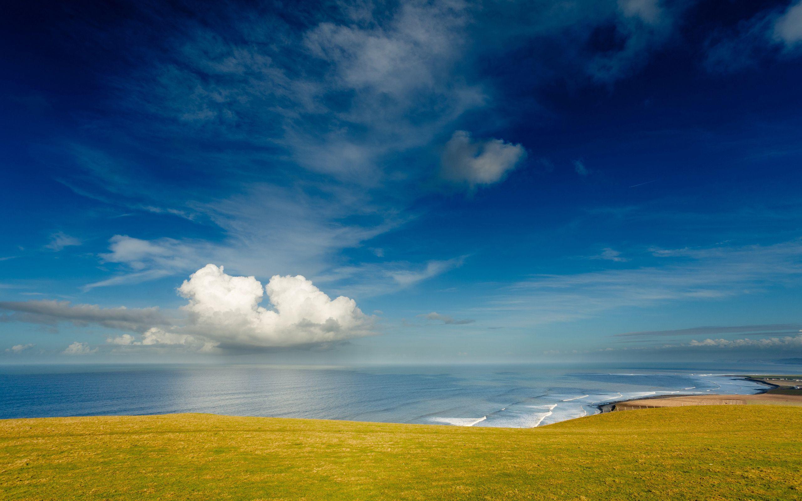 55615 免費下載壁紙 性质, 海岸, 天空, 云, 云端, 海洋, 草地, 波利亚纳, 土地, 苏沙, 蓝色的, 绿色的 屏保和圖片