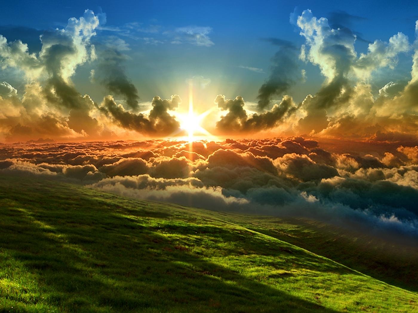 23343 скачать обои Пейзаж, Трава, Солнце, Облака - заставки и картинки бесплатно