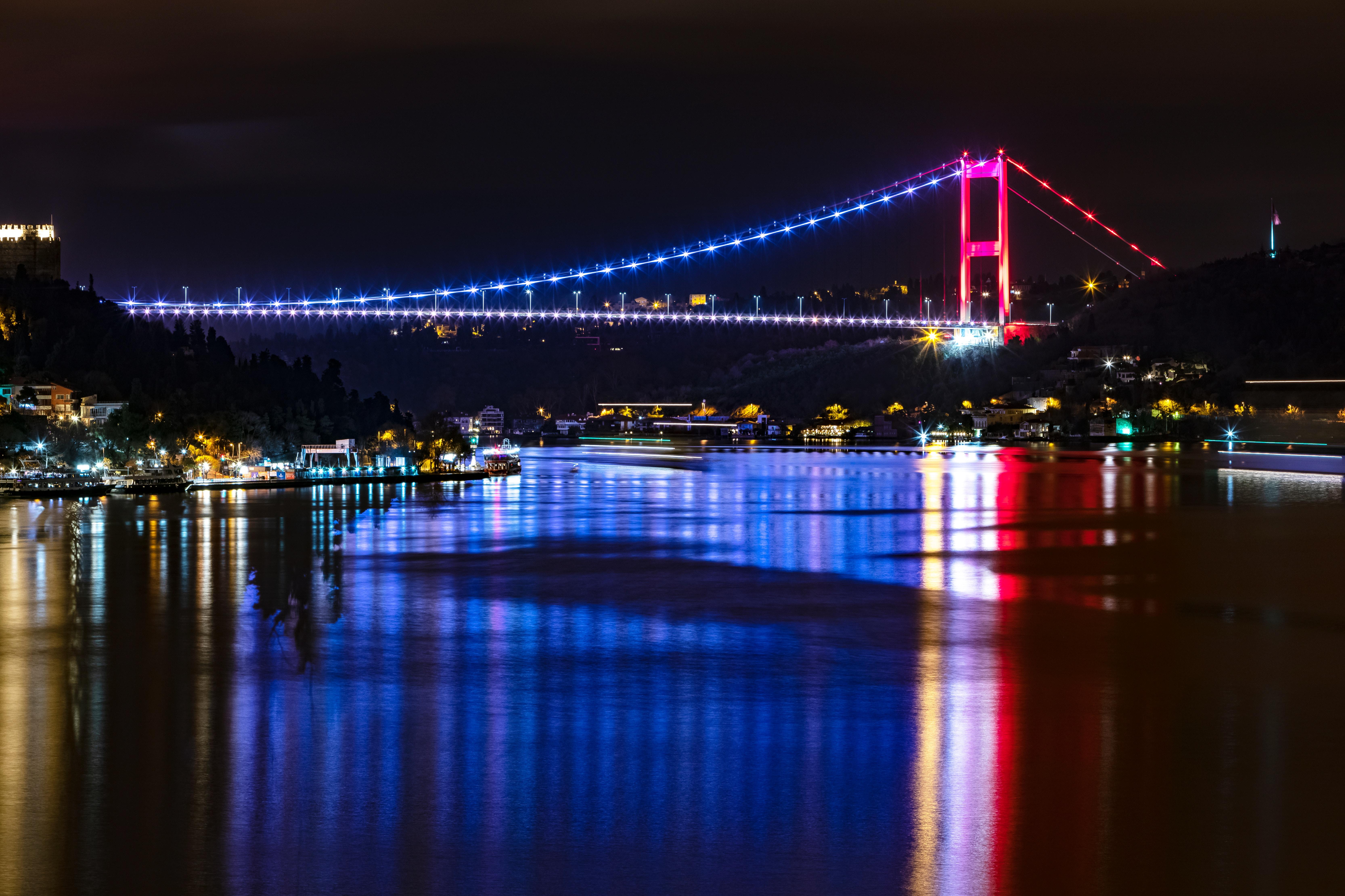 141195 скачать обои Города, Река, Отражение, Мост, Подсветка, Стамбул - заставки и картинки бесплатно