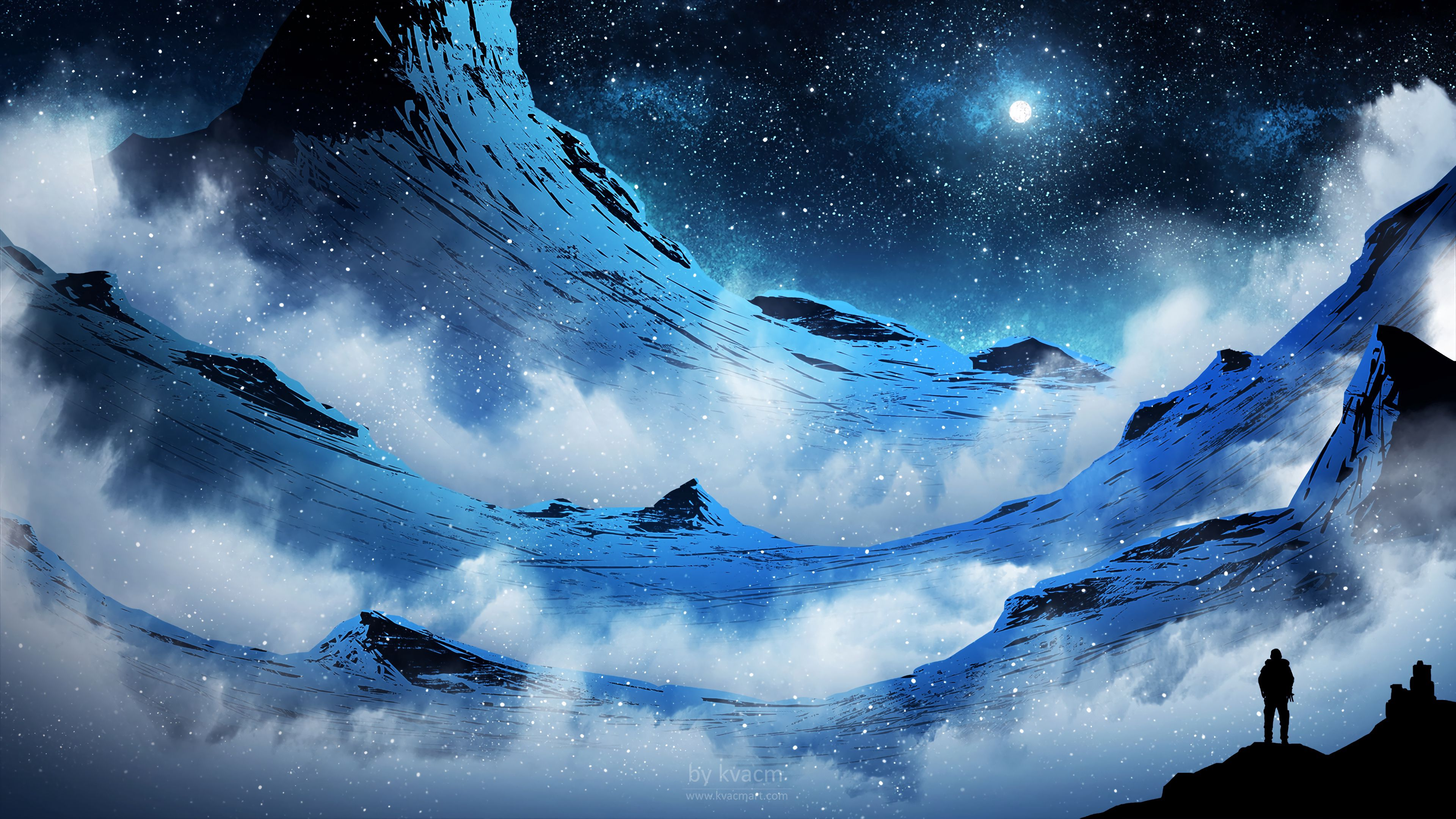 76583 download wallpaper Art, Night, Snowstorm, Silhouette, Moon, Moonlight, Mountains screensavers and pictures for free