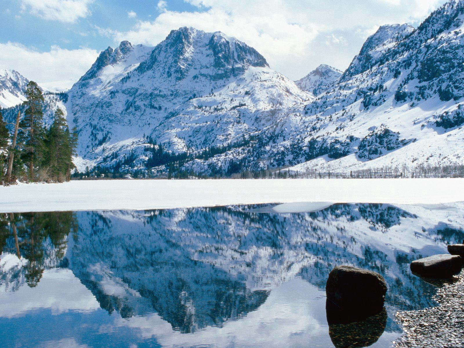 54644 download wallpaper Nature, Nevada, California, Lake, Shore, Bank, Ice, Snow, Stones, Mountains screensavers and pictures for free