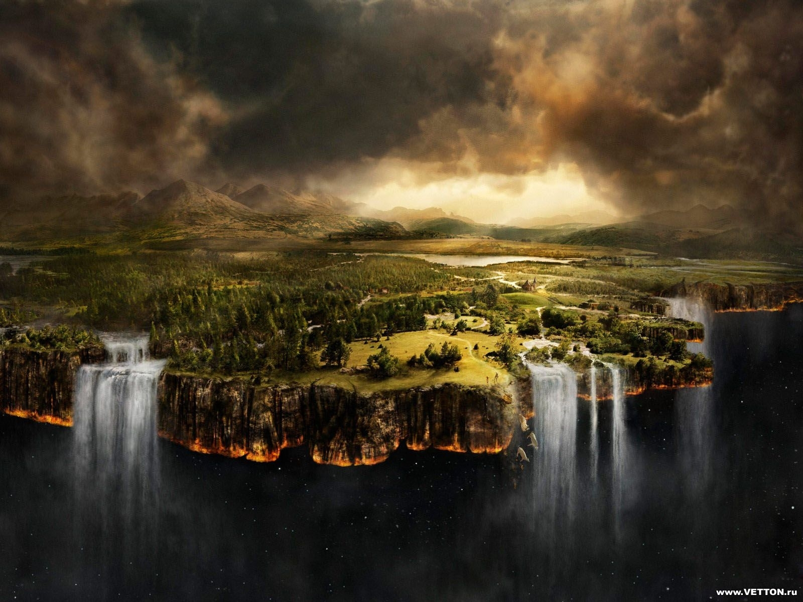 5339 download wallpaper Landscape, Fantasy, Sky, Waterfalls screensavers and pictures for free