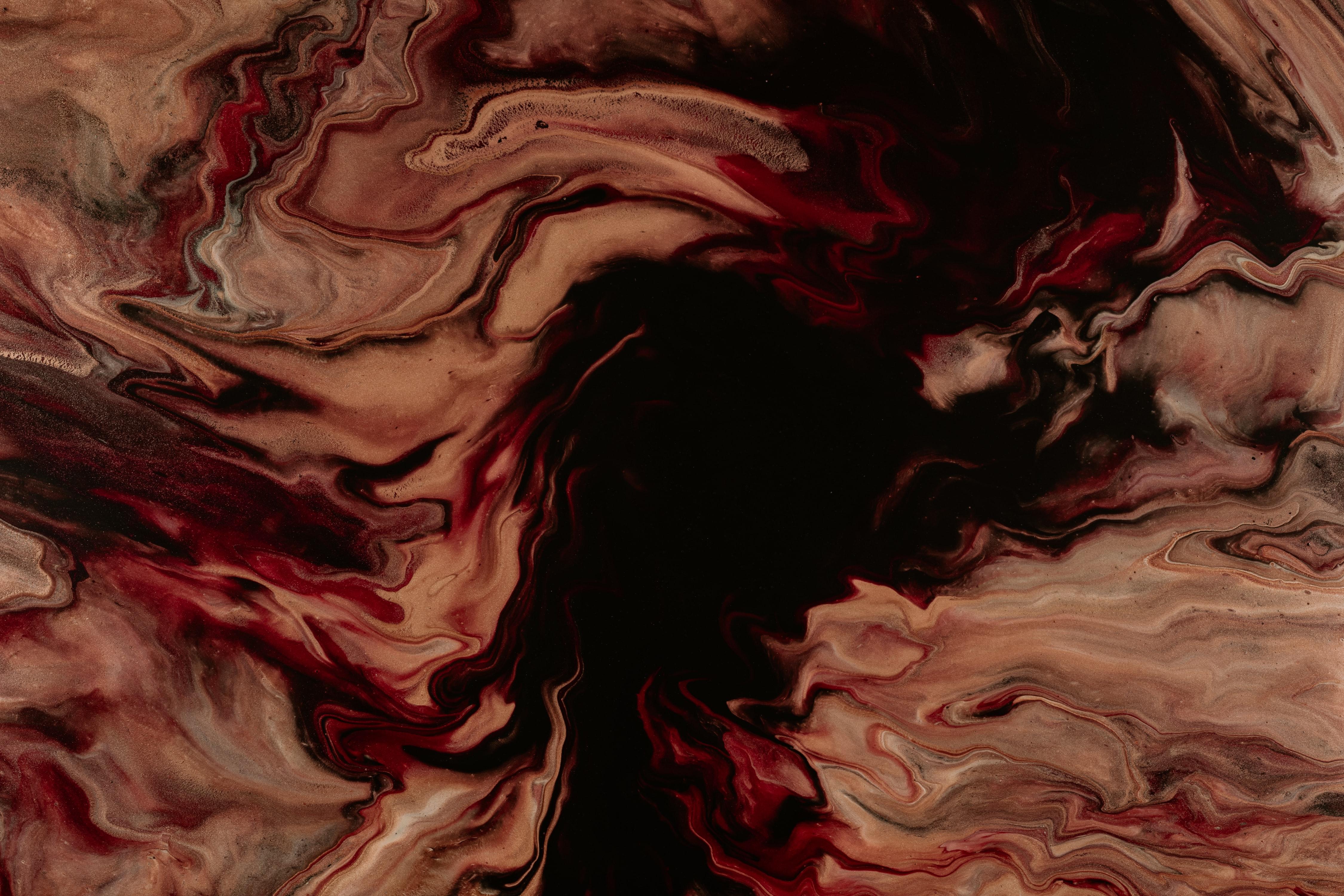 117928 免費下載壁紙 抽象, 离婚, 画, 油漆, 液体, 棕色的, 棕色, 红色的, 黑色的 屏保和圖片