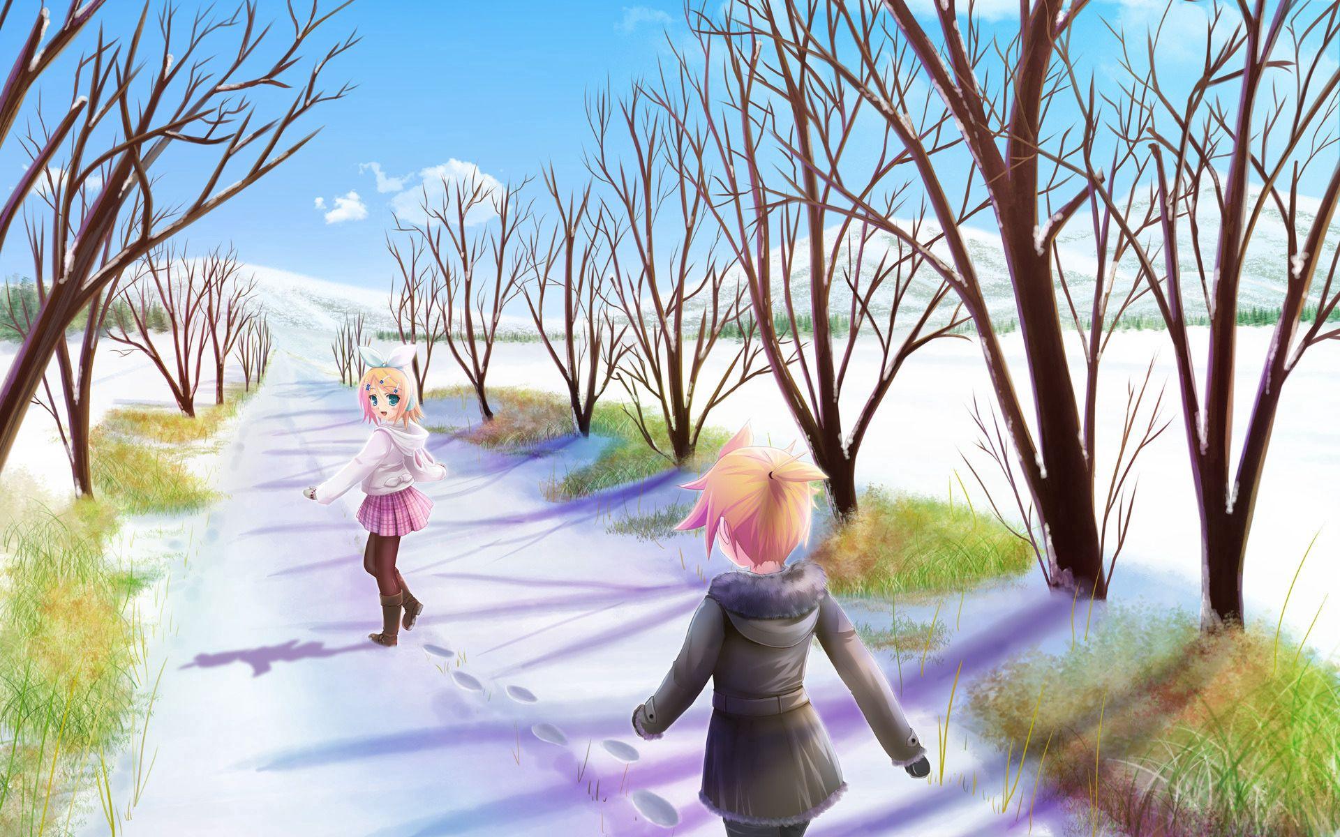 105352 papel de parede 240x320 em seu telefone gratuitamente, baixe imagens Anime, Meninas, Neve, Passeio, Passear, Solce 240x320 em seu celular