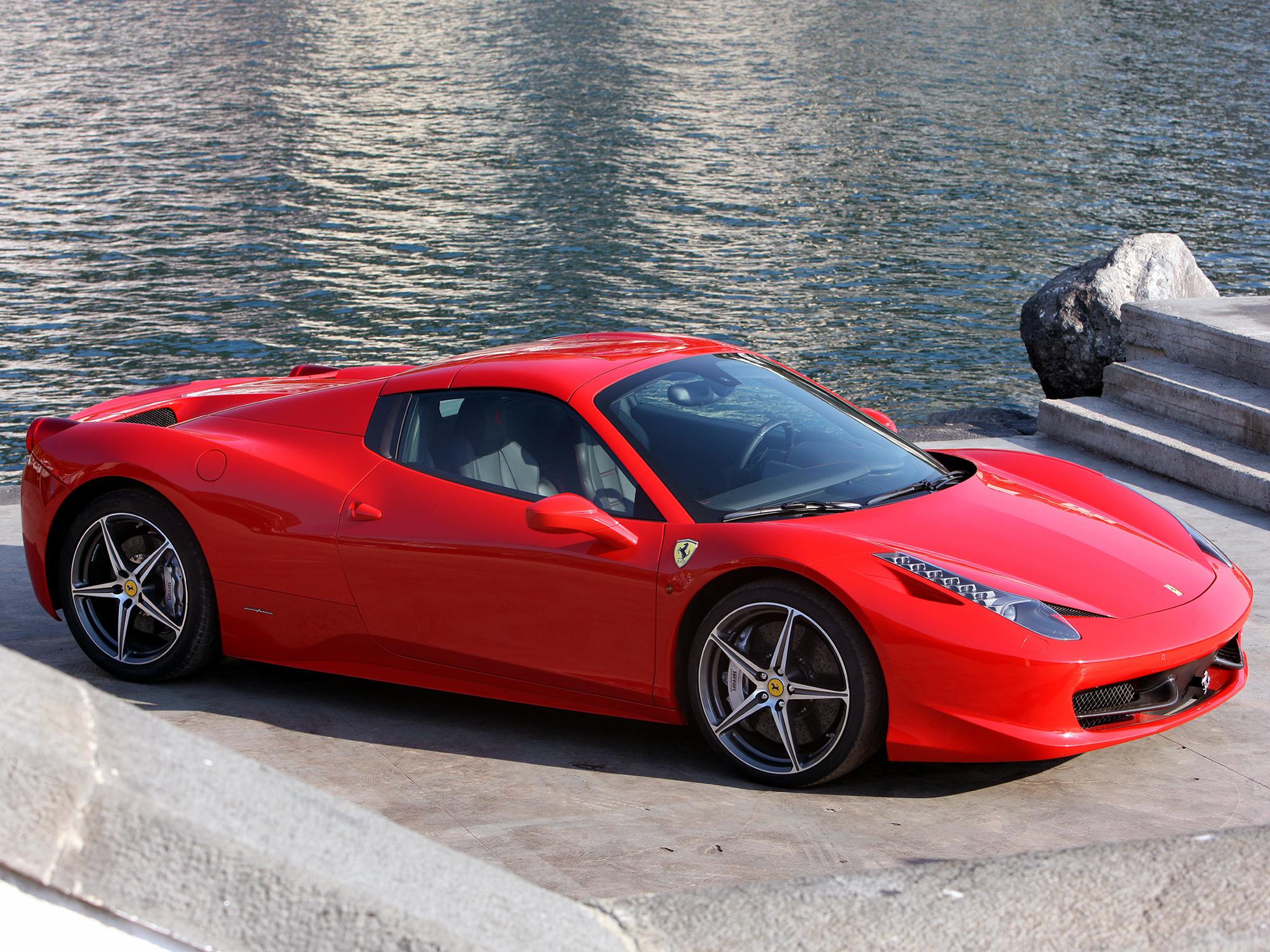 63136 скачать обои Тачки (Cars), Феррари (Ferrari), 458 Italia, Spider, Красный, Машины, Берег - заставки и картинки бесплатно