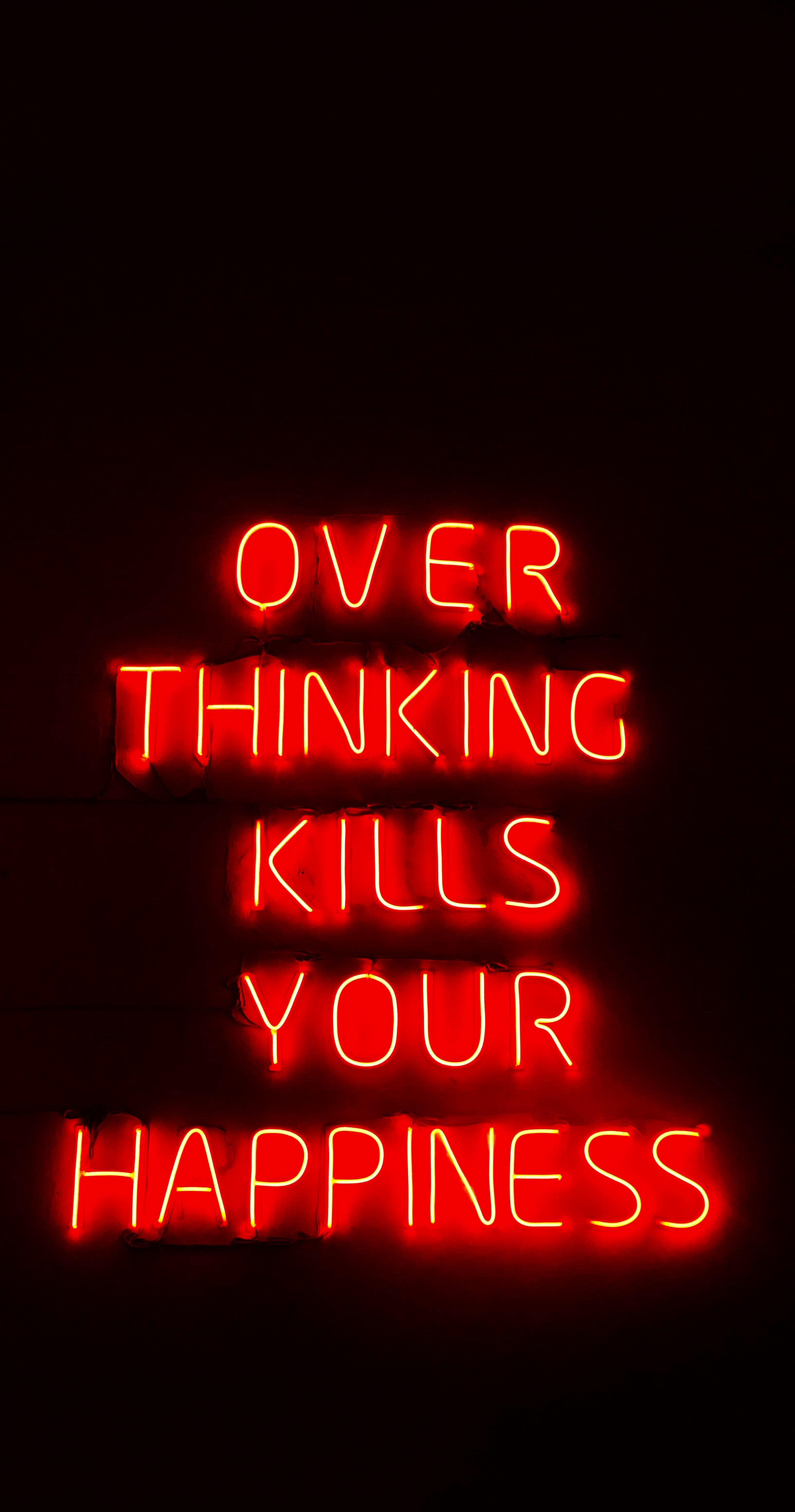 121007 download wallpaper Words, Thinking, Thought, Happiness, Text, Neon, Phrase screensavers and pictures for free