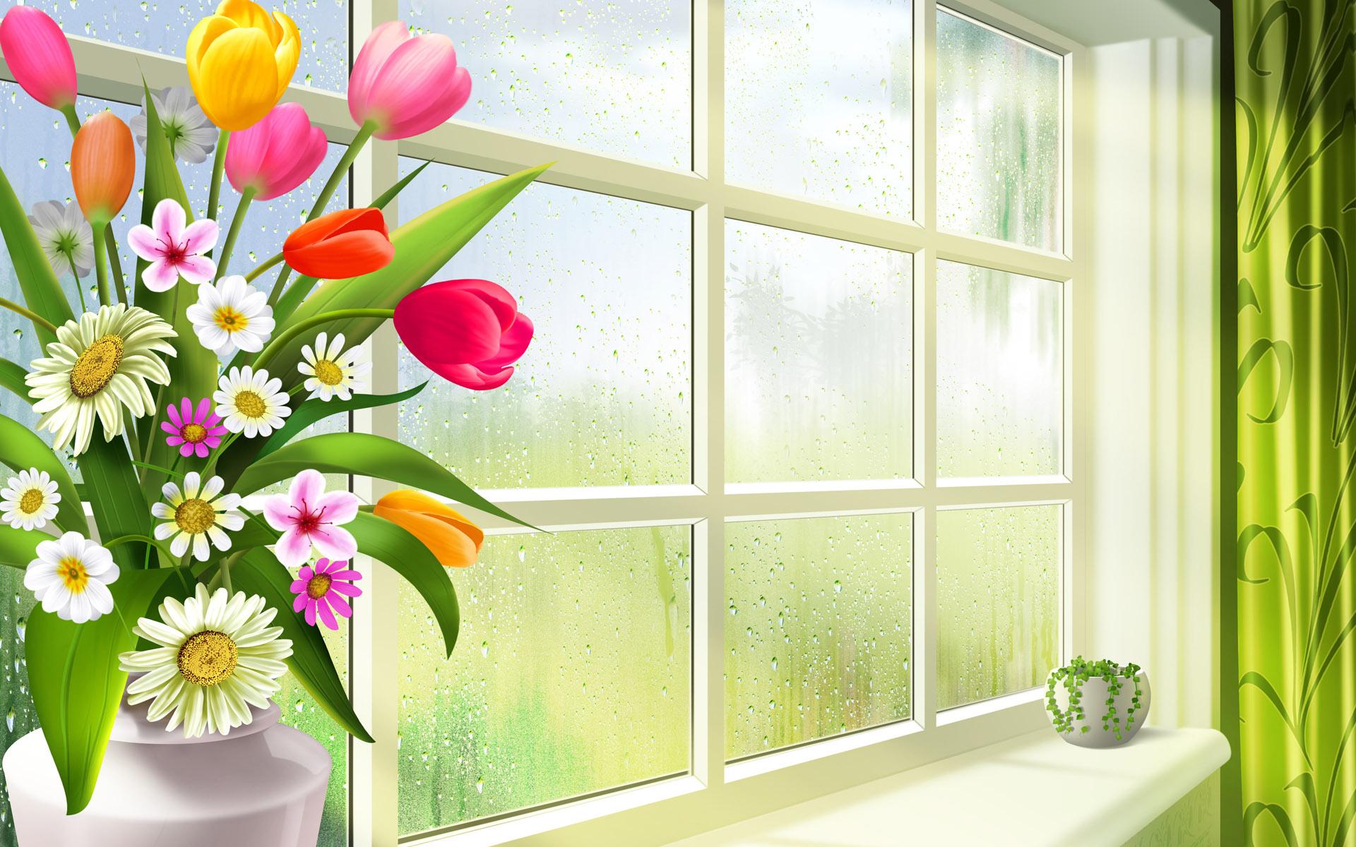 16884 скачать обои Растения, Цветы, Тюльпаны, Рисунки, Натюрморт - заставки и картинки бесплатно