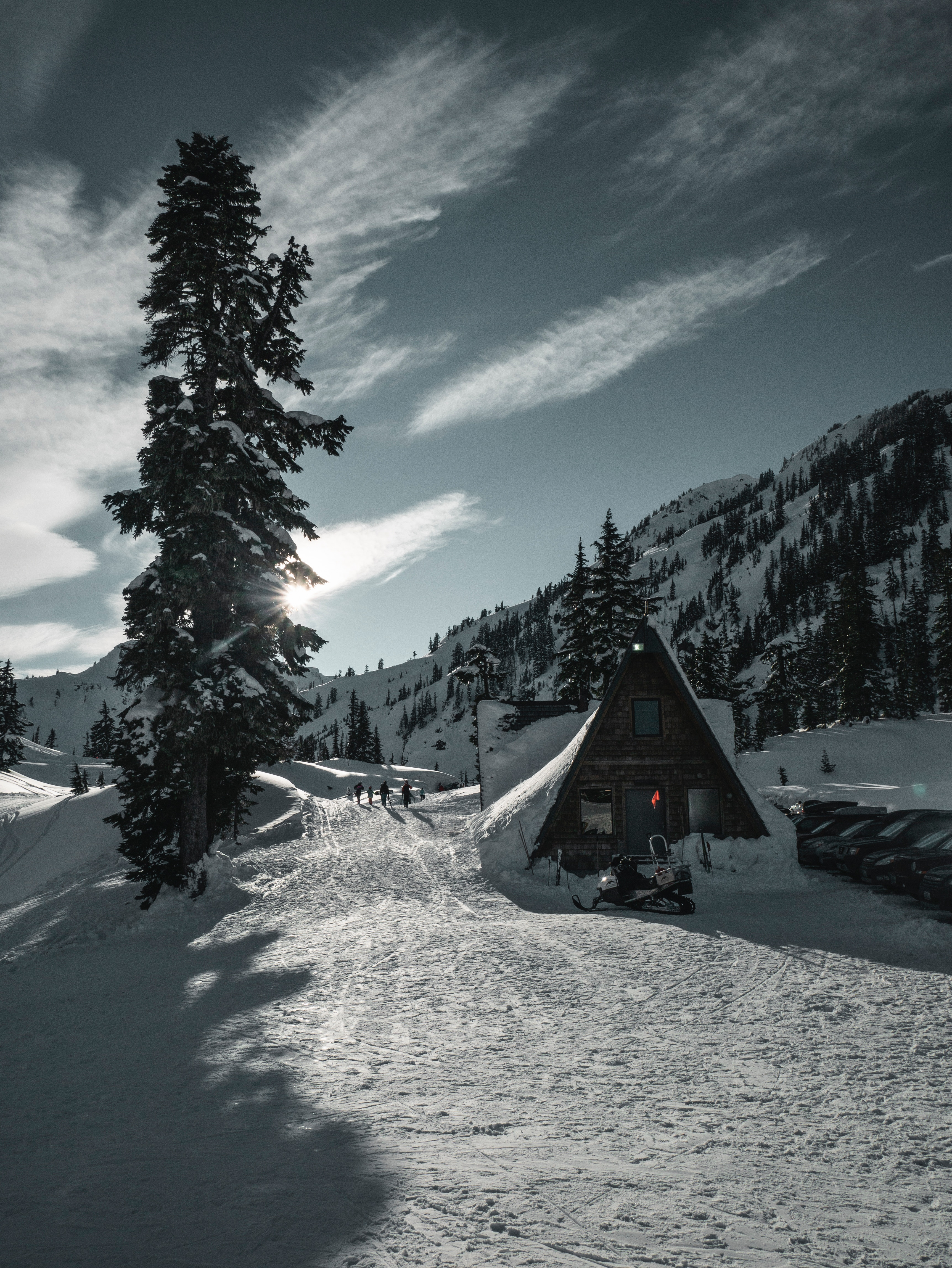 55570 Screensavers and Wallpapers Small House for phone. Download Winter, Nature, Snow, Mountain, Small House, Lodge, Snow Covered, Snowbound, Resort pictures for free