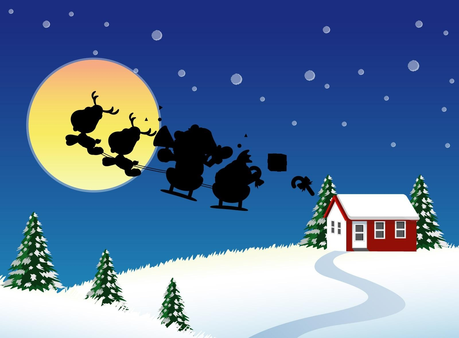 145153 download wallpaper Holidays, Santa Claus, Christmas, Sleigh, Sledge, Flight, Moon, House, Fir-Trees screensavers and pictures for free