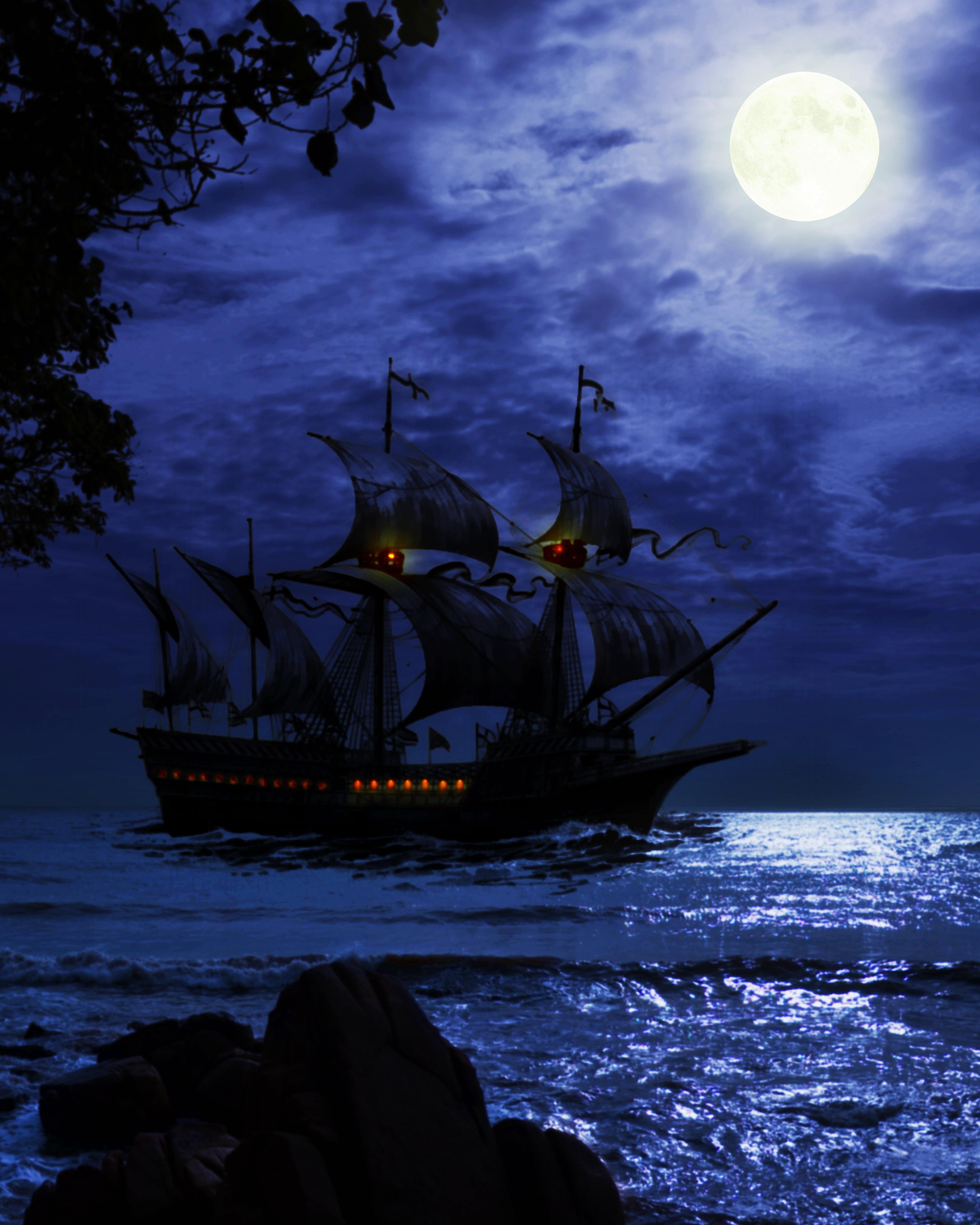 70107 Заставки и Обои Волны на телефон. Скачать Темные, Корабль, Ночь, Море, Арт, Волны картинки бесплатно