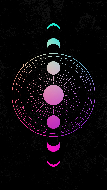 127228 Protetores de tela e papéis de parede Lua em seu telefone. Baixe Abstrato, Arte, Sol, Lua, Círculos fotos gratuitamente