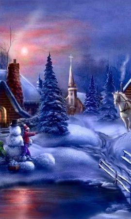 42815 скачать обои Праздники, Новый Год (New Year), Рисунки - заставки и картинки бесплатно